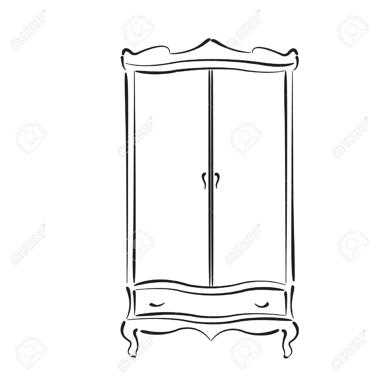 Wardrobe clipart black and white  Sketched Vintage Wardrobe Isolated On White Background. Vintage ...