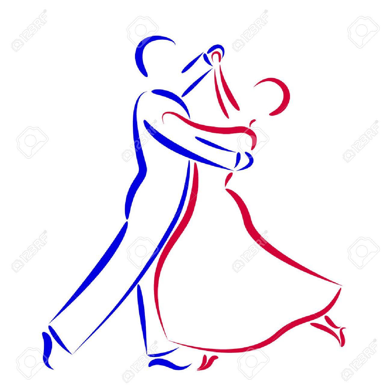 Tanzpaar-Logo Auf Weißem Hintergrund. Paar Silhouette Tanzen. Waltz ...