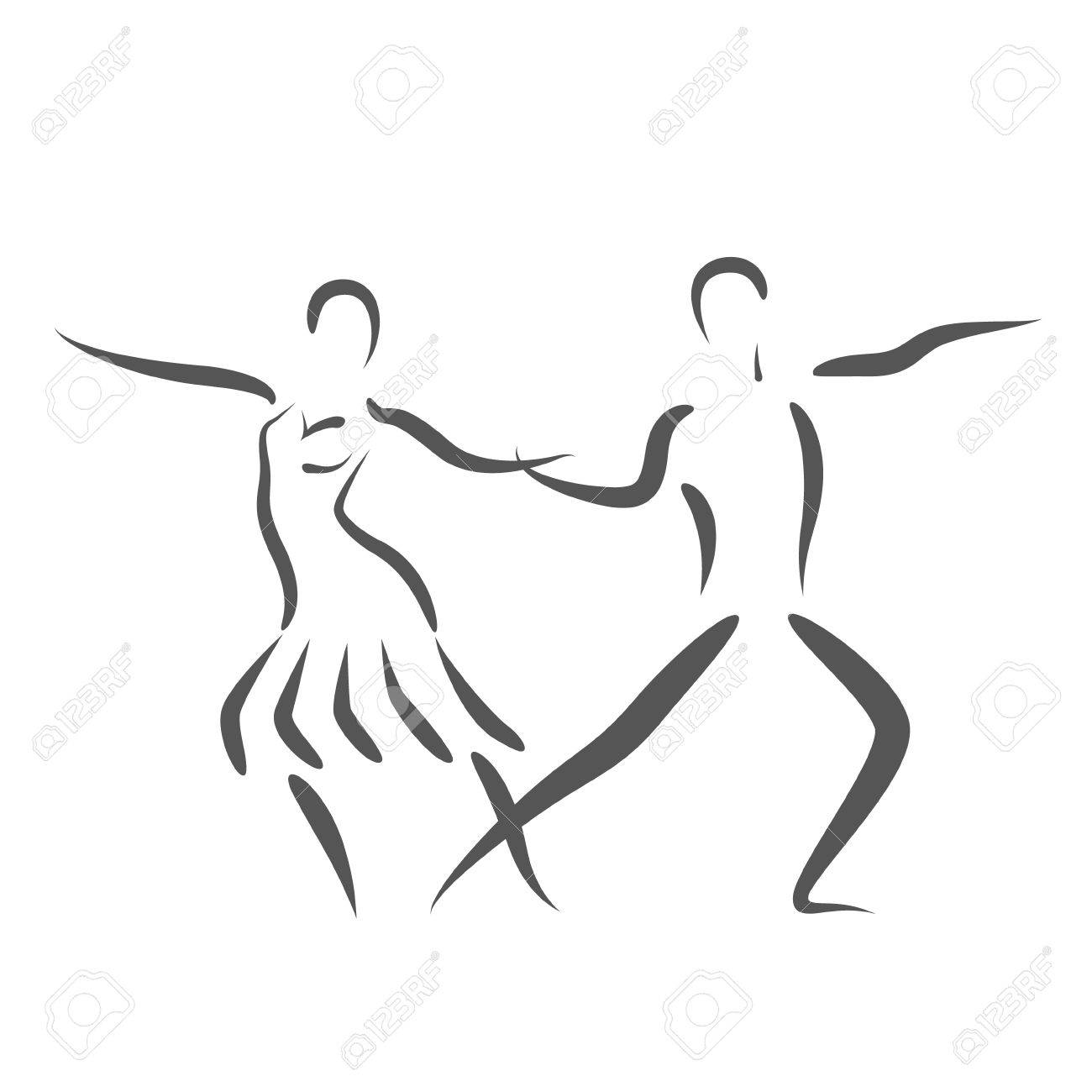 Tanzpaar-Logo Auf Weißem Hintergrund. Paar Silhouette Tanzen. Tänzer ...
