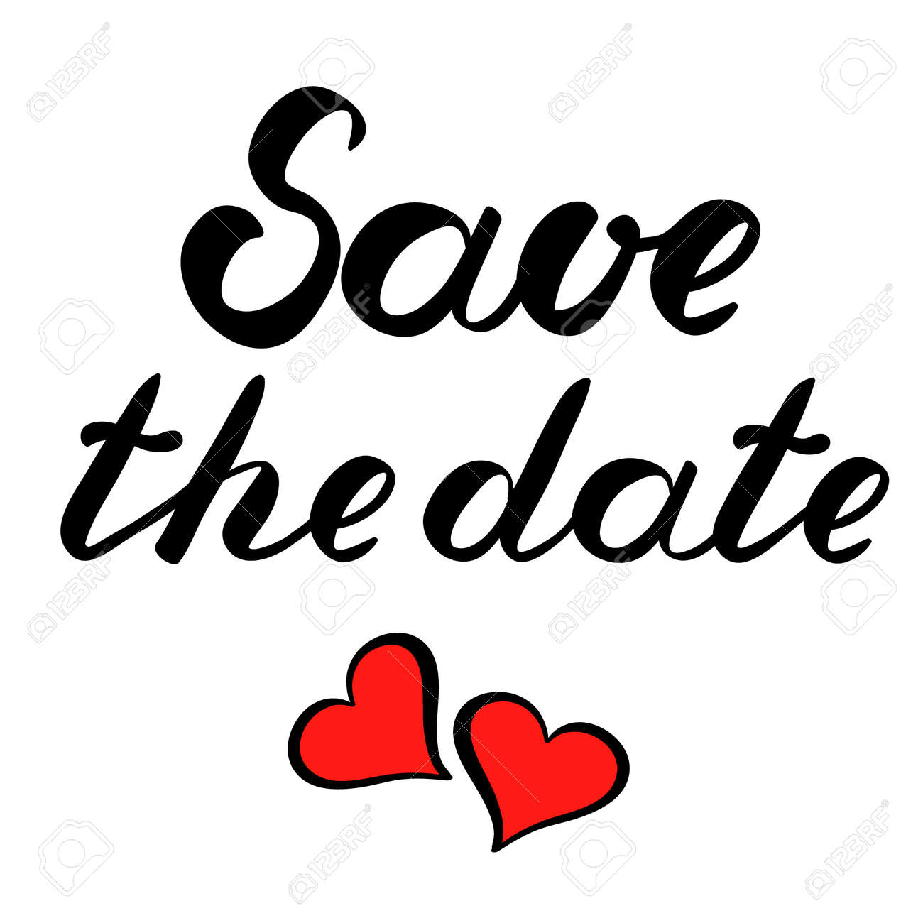 Save The Date Brush Lettering Decorated With Hearts. Cute ...