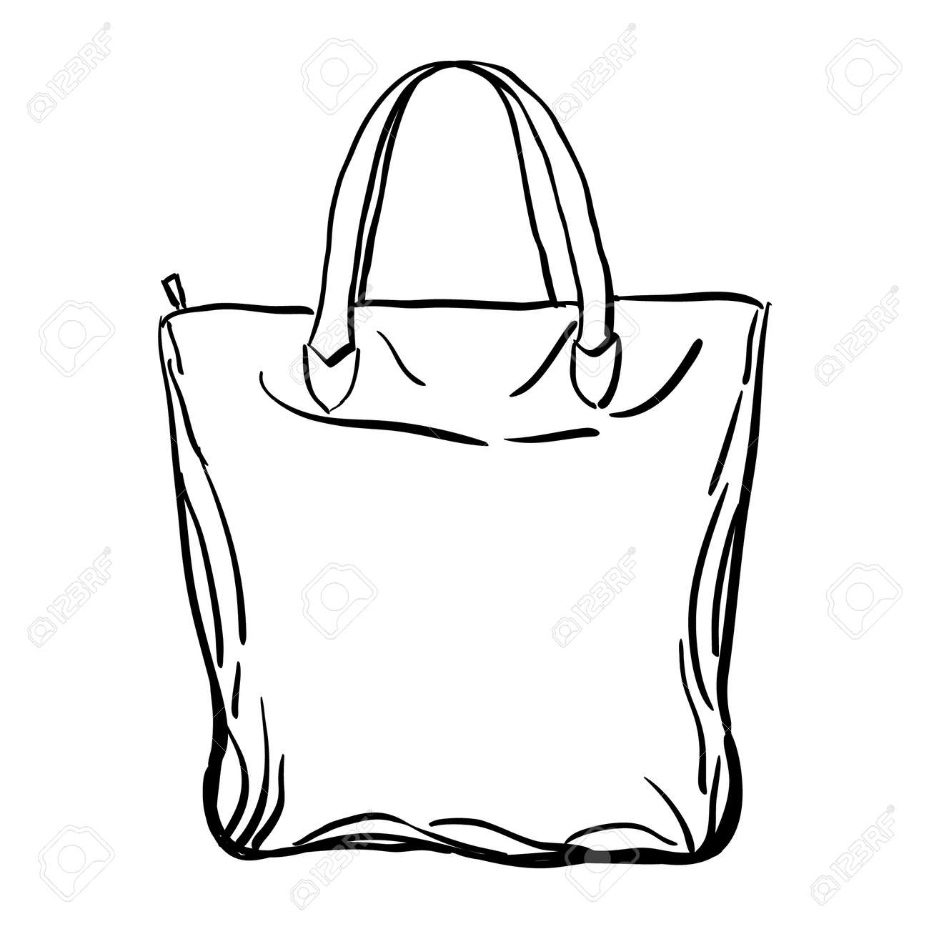 Beach tote bag sketch isolated on white background. Vector illustration. - 57642867