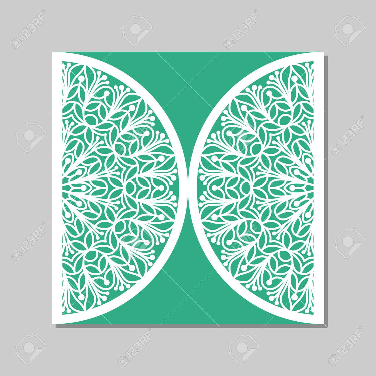Einladung Zur Hochzeit Oder Grußkarte Mit Mandala Spitze Ornament.  Papierspitzen Umschlag. Einladung Zur Hochzeit