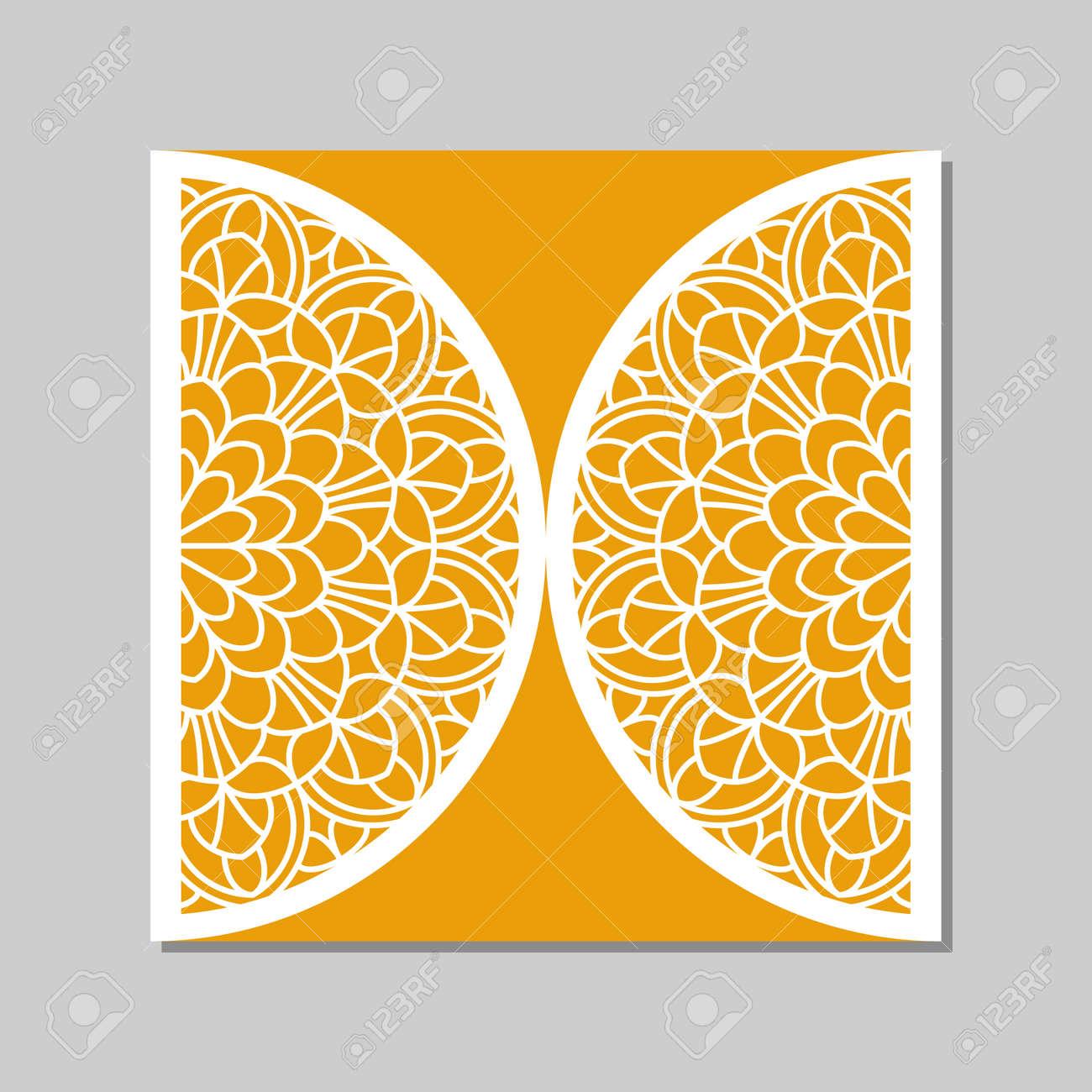 Einladung Zur Hochzeit Oder Grußkarte Mit Mandala Spitze Ornament. Die  Geschnittenen Papier Spitze Umschlag Vorlage