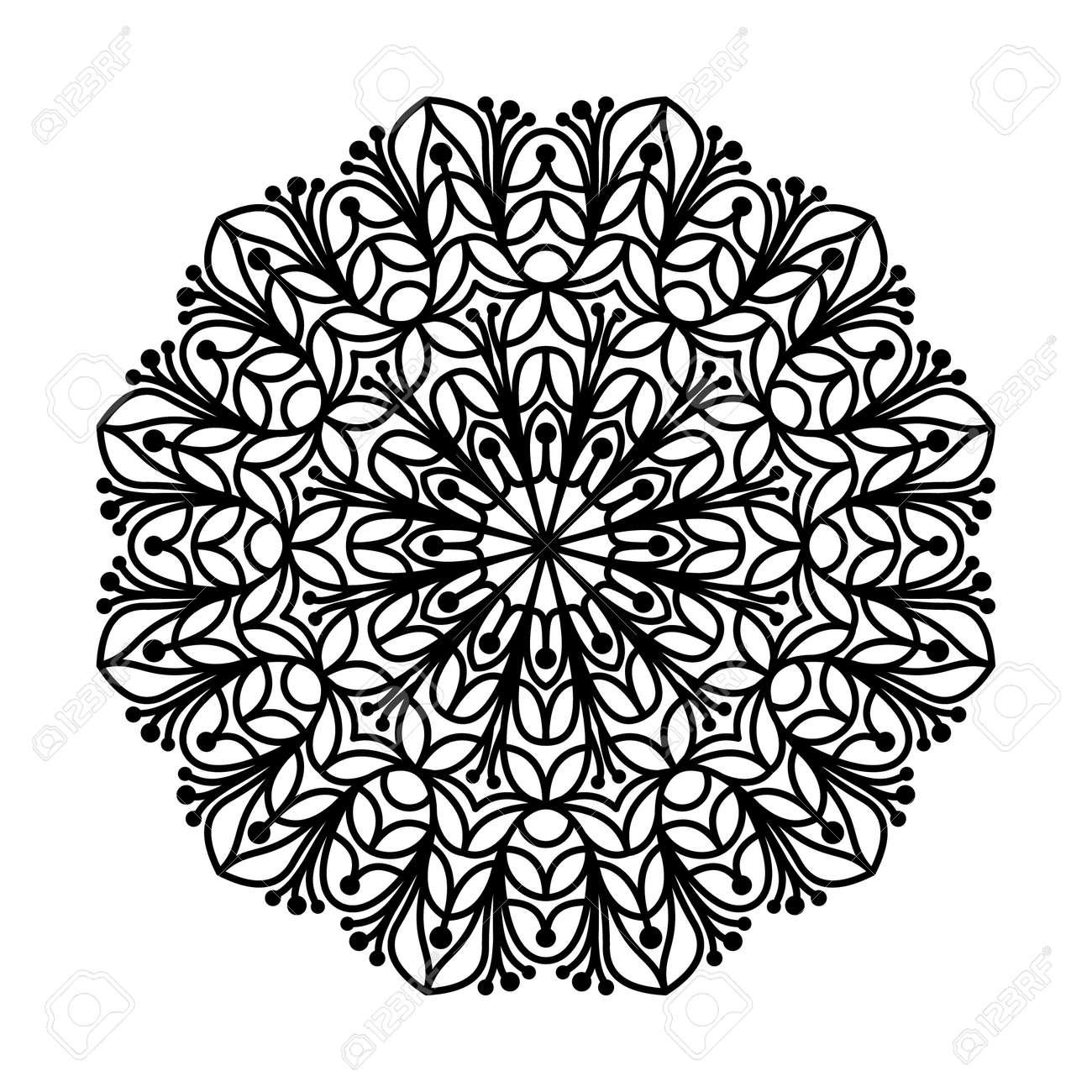 Mandala Contorno. Mandala Lineal Aislado En El Fondo Blanco. Anti ...