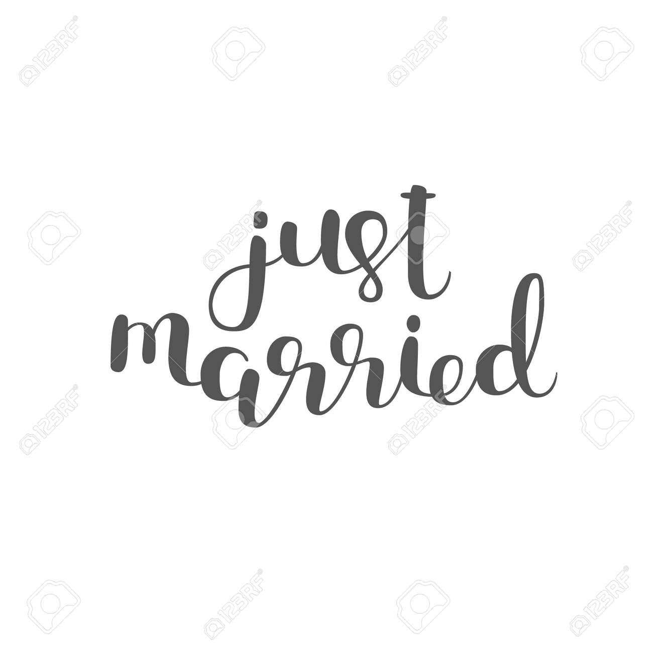 Frisch Verheiratet Pinselbeschriftung Moderne Kalligraphie Kann