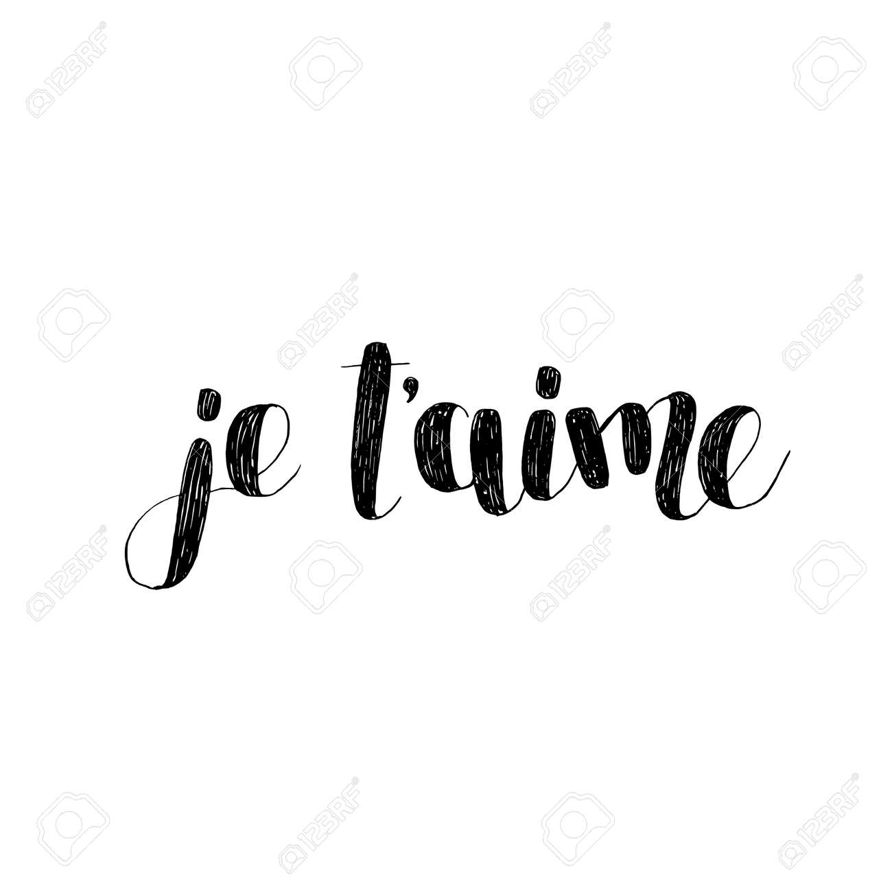 Je t aime  I love you in French  Brush lettering illustration