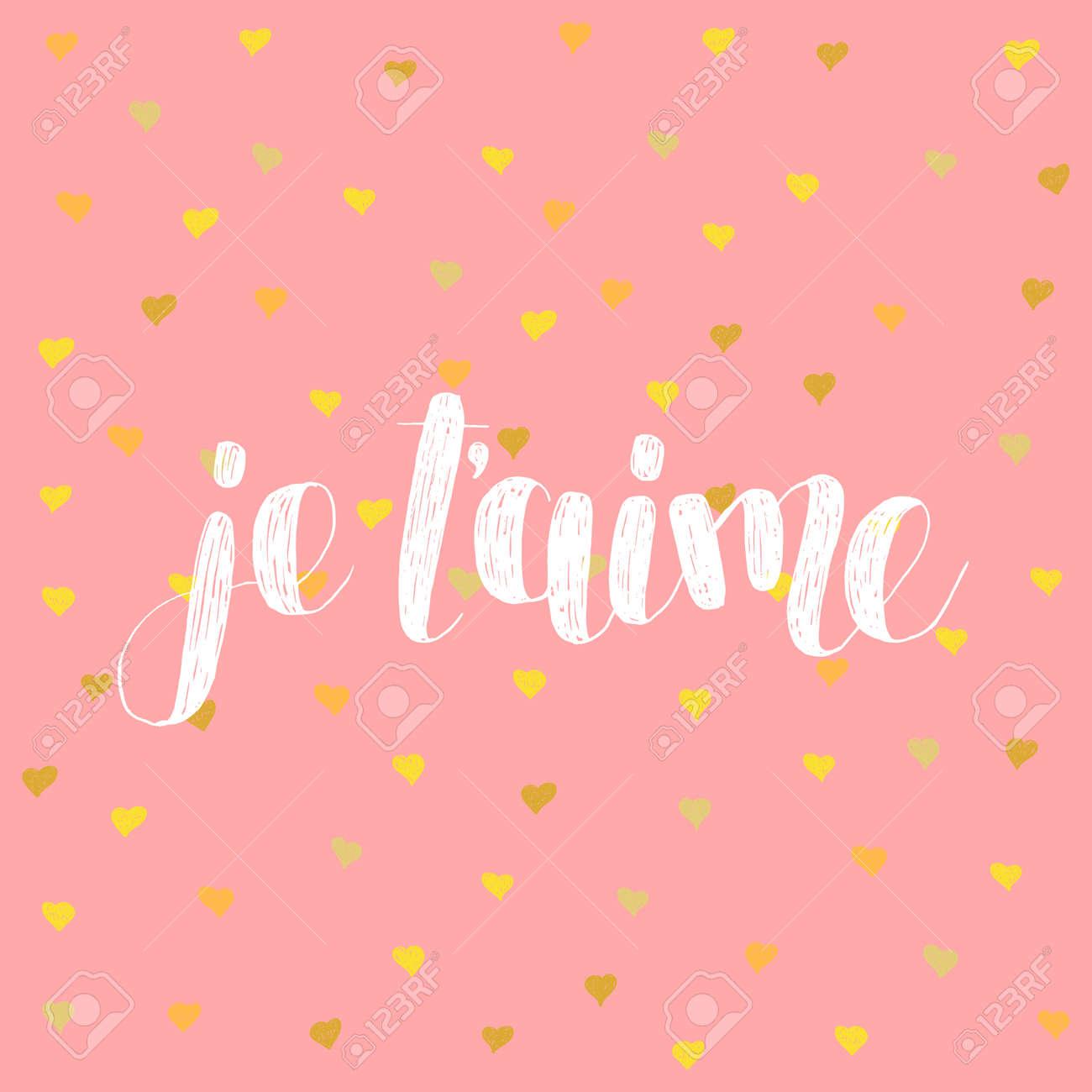I Love U. Ich Liebe Dich Auf Französisch. Pinsel Hand Schriftzug ...