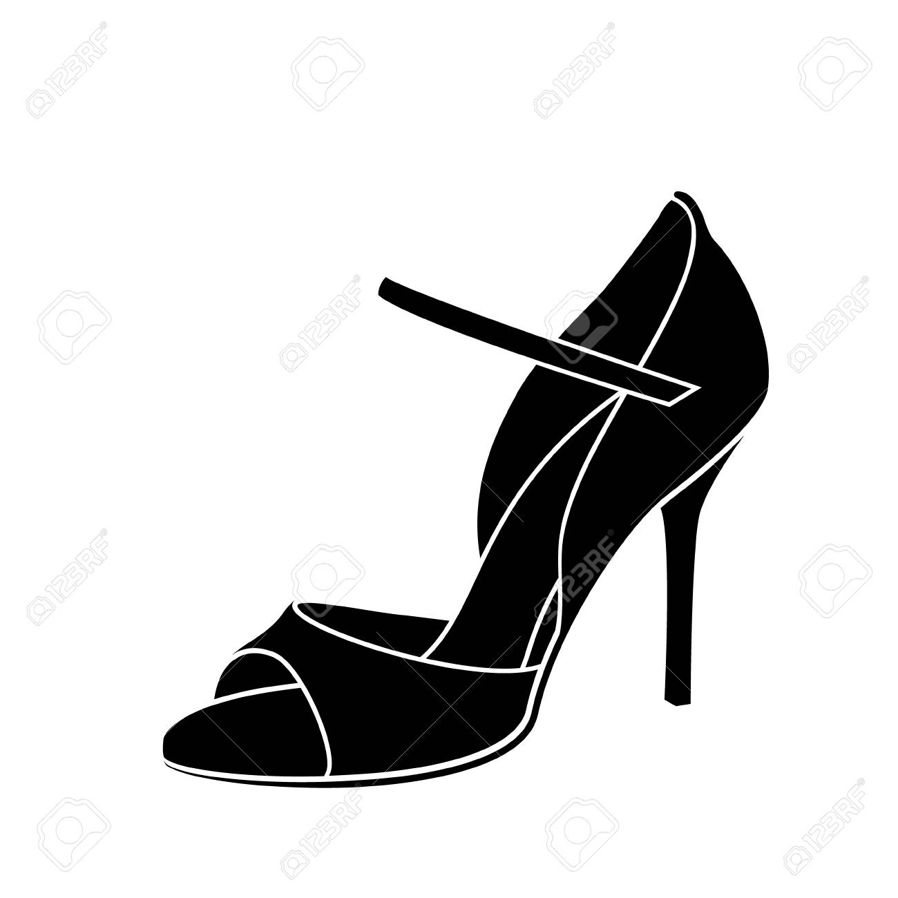 Elegant sketched woman s shoe for Argentine tango dancing. - 108438522
