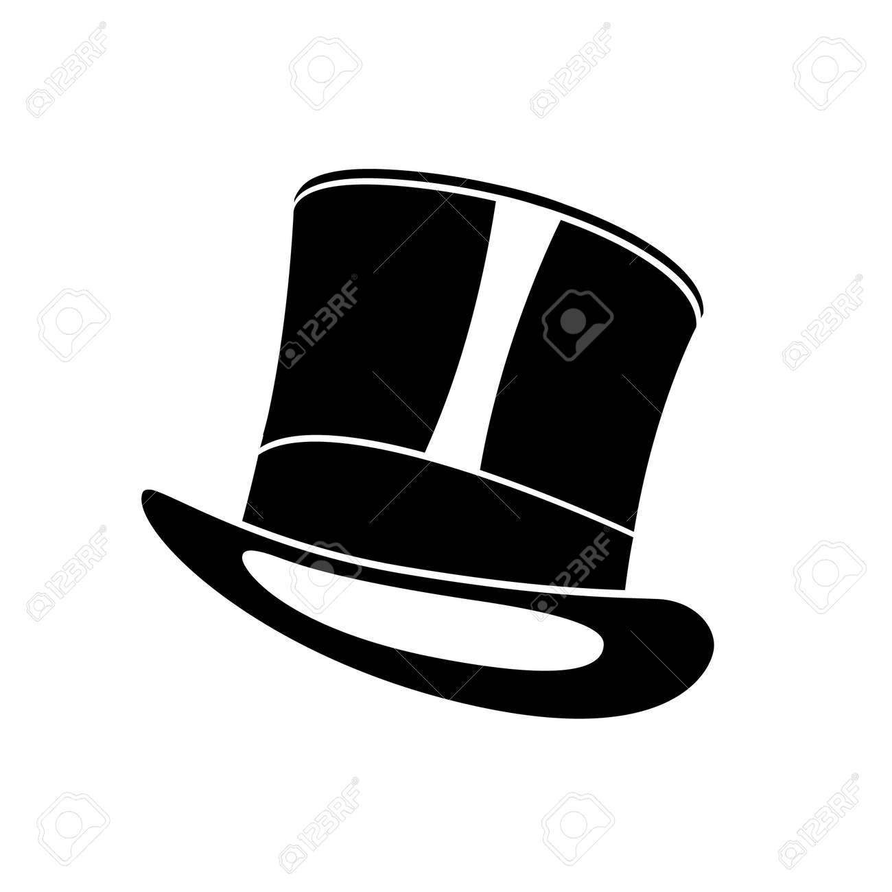 2c040d7e5a3 Black retro top hat. Gentleman cylinder hat vector illustration. Stock  Vector - 110353625