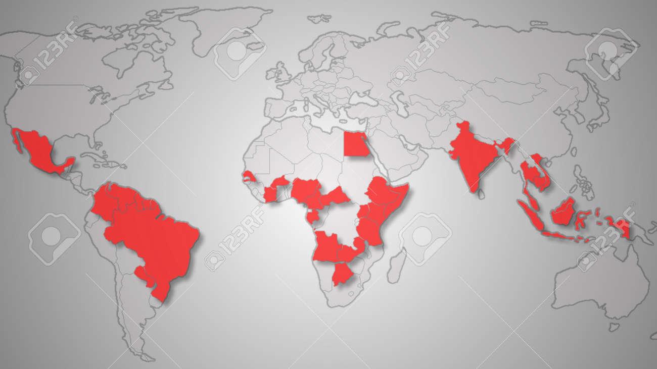 Zika Virus Spreads World Map Illustration Zika Virus Spreading