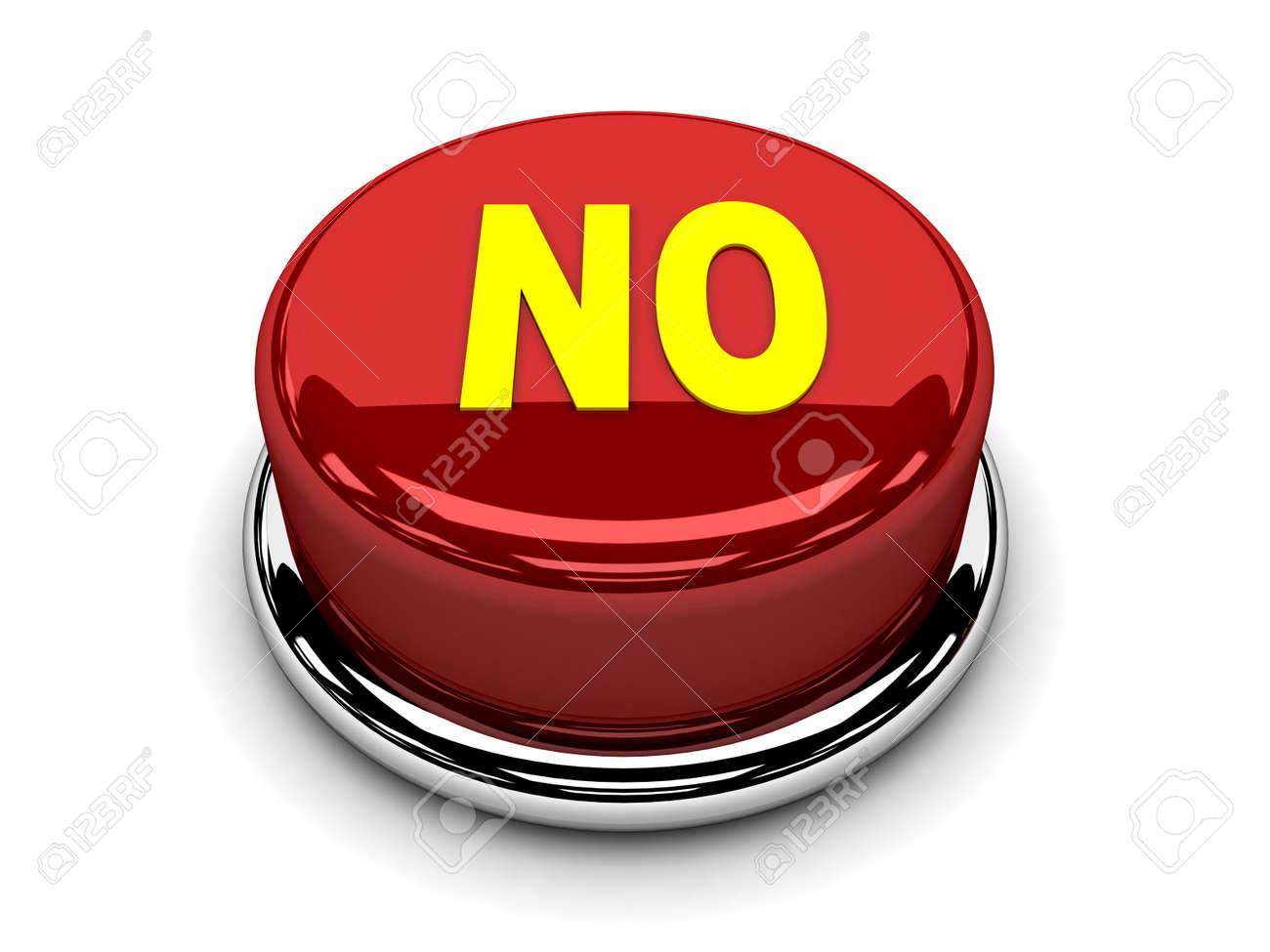3d button red no stop disagreement push Stock Photo - 17451390
