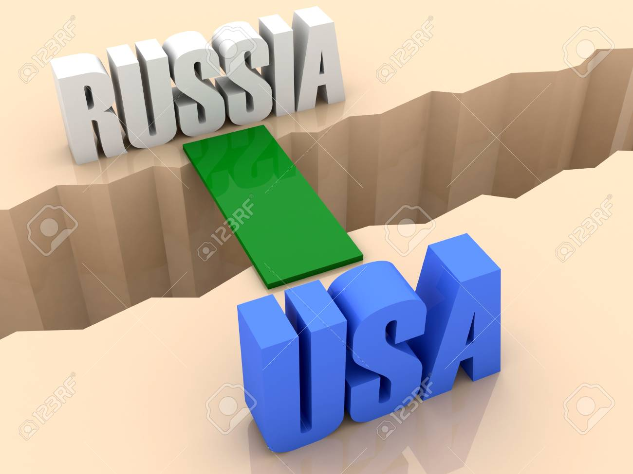 Two words RUSSIA and USA united by bridge through separation crack. Concept 3D illustration. Stock Illustration - 19138148
