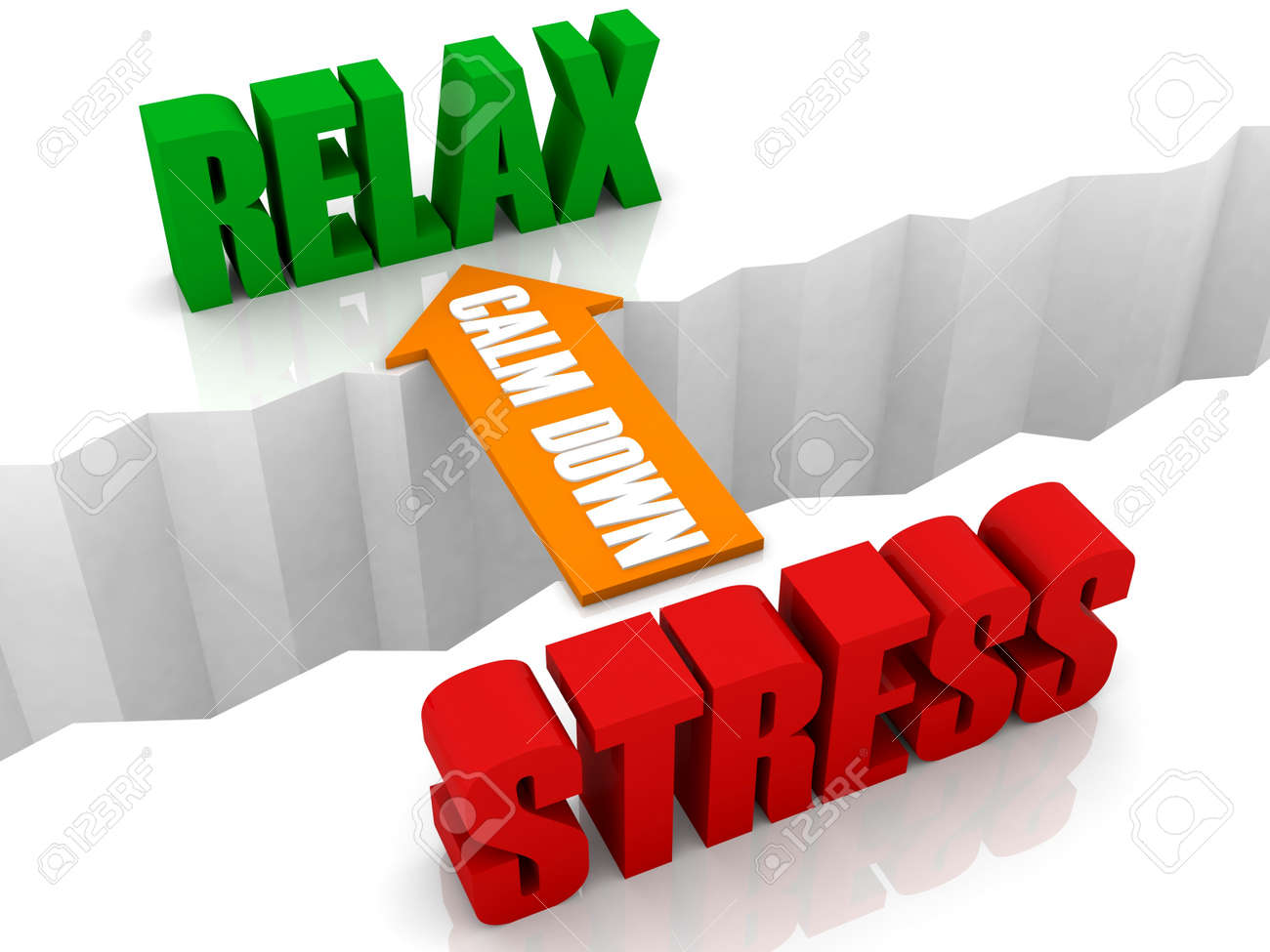 Calm down is the bridge from STRESS to RELAX. Concept 3D illustration. Stock Illustration - 19451911