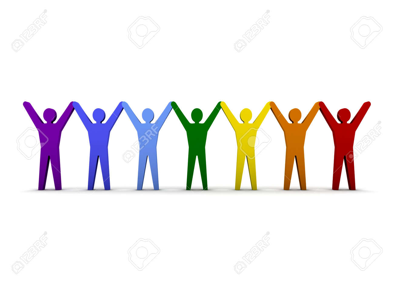 Men holding the word party concept 3d illustration stock photo - Group Of People Group Of Different People Success Concept 3d Illustration
