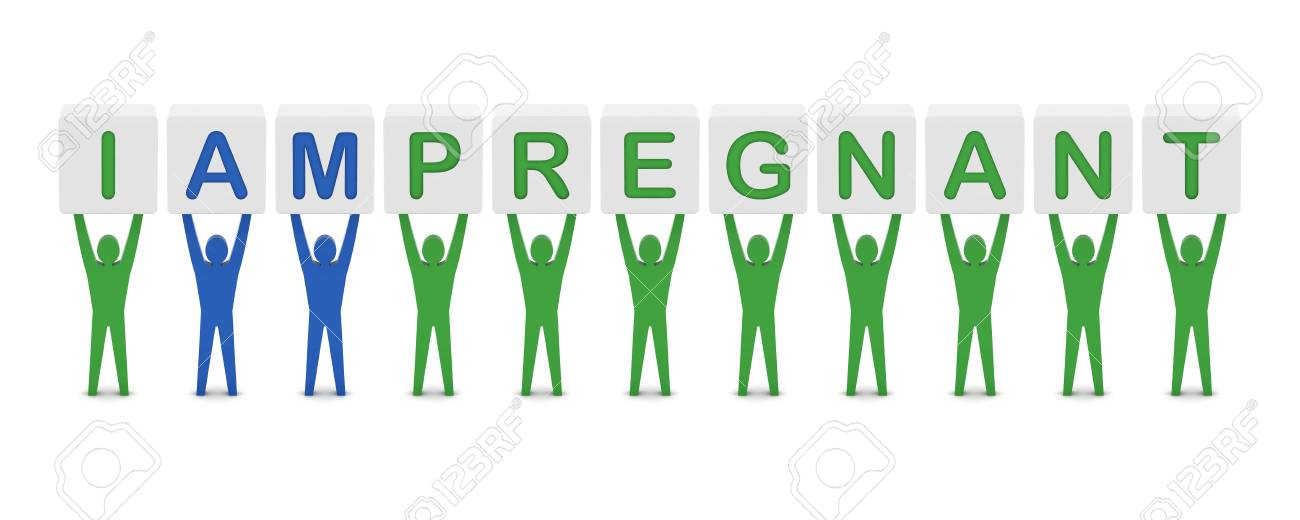 Men holding the phrase i am pregnant. Concept 3D illustration. Stock Photo - 20175944