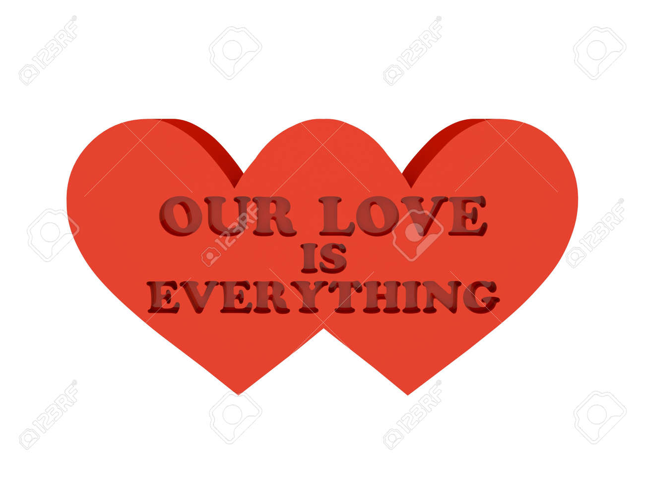 Dos Corazones Frase Nuestro Amor Es Todo Recorte Interior