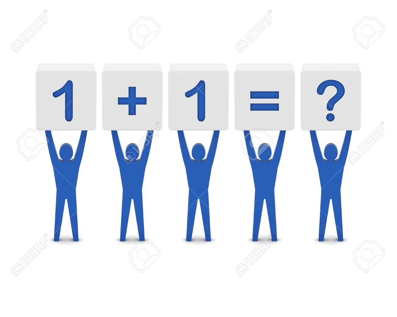 Men Holding The Simple Math. Concept 3D Illustration. Stock Photo ...