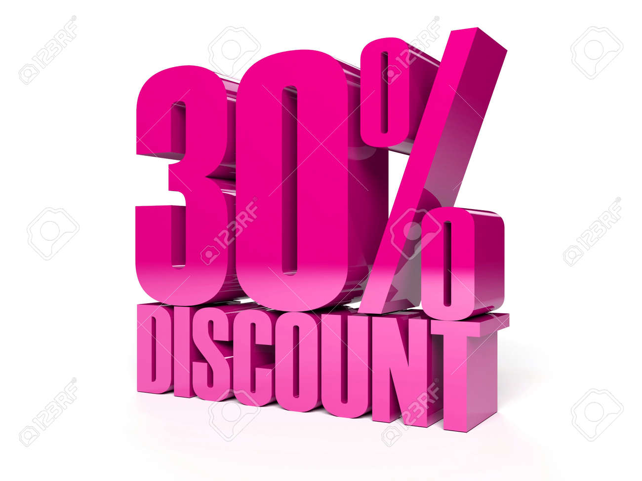 30 percent discount. Pink shiny text. Concept 3D illustration. Stock Illustration - 22491878