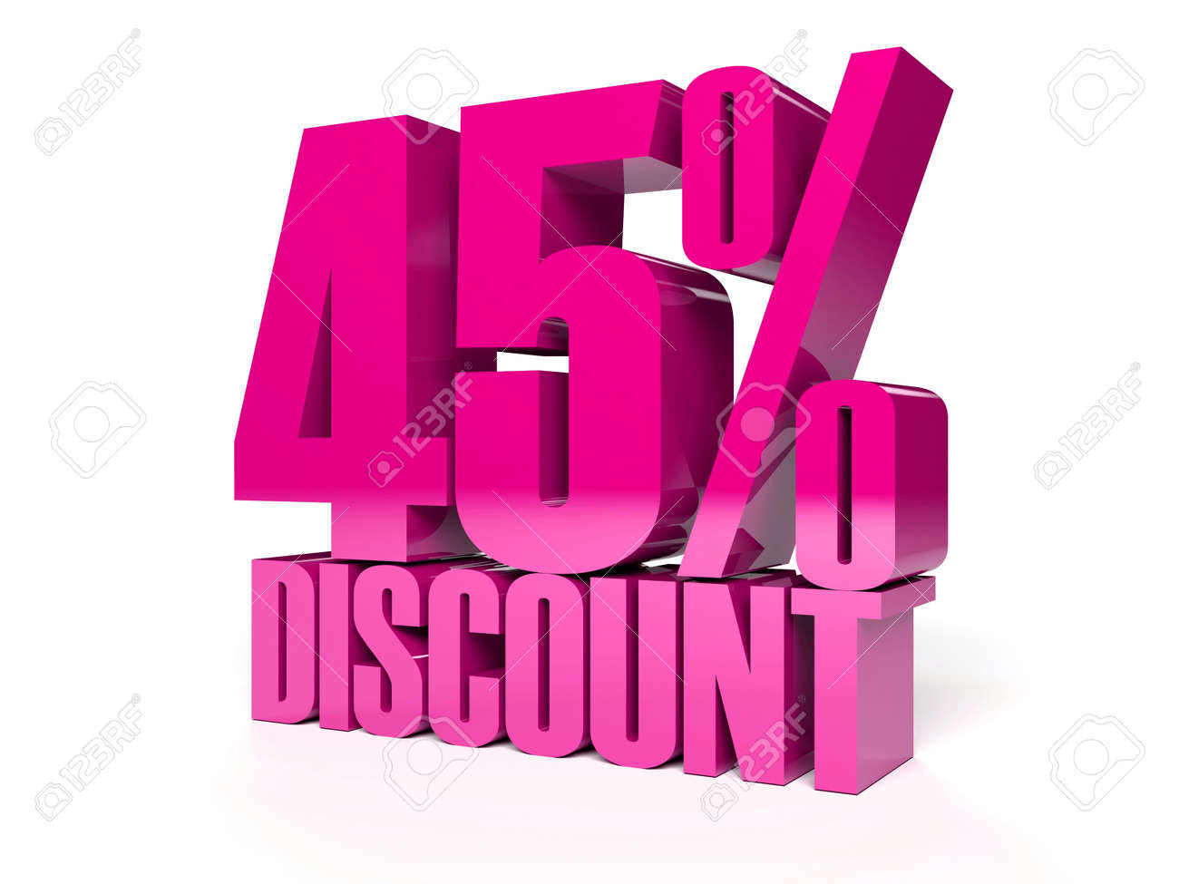45 percent discount. Pink shiny text. Concept 3D illustration. Stock Illustration - 22491877