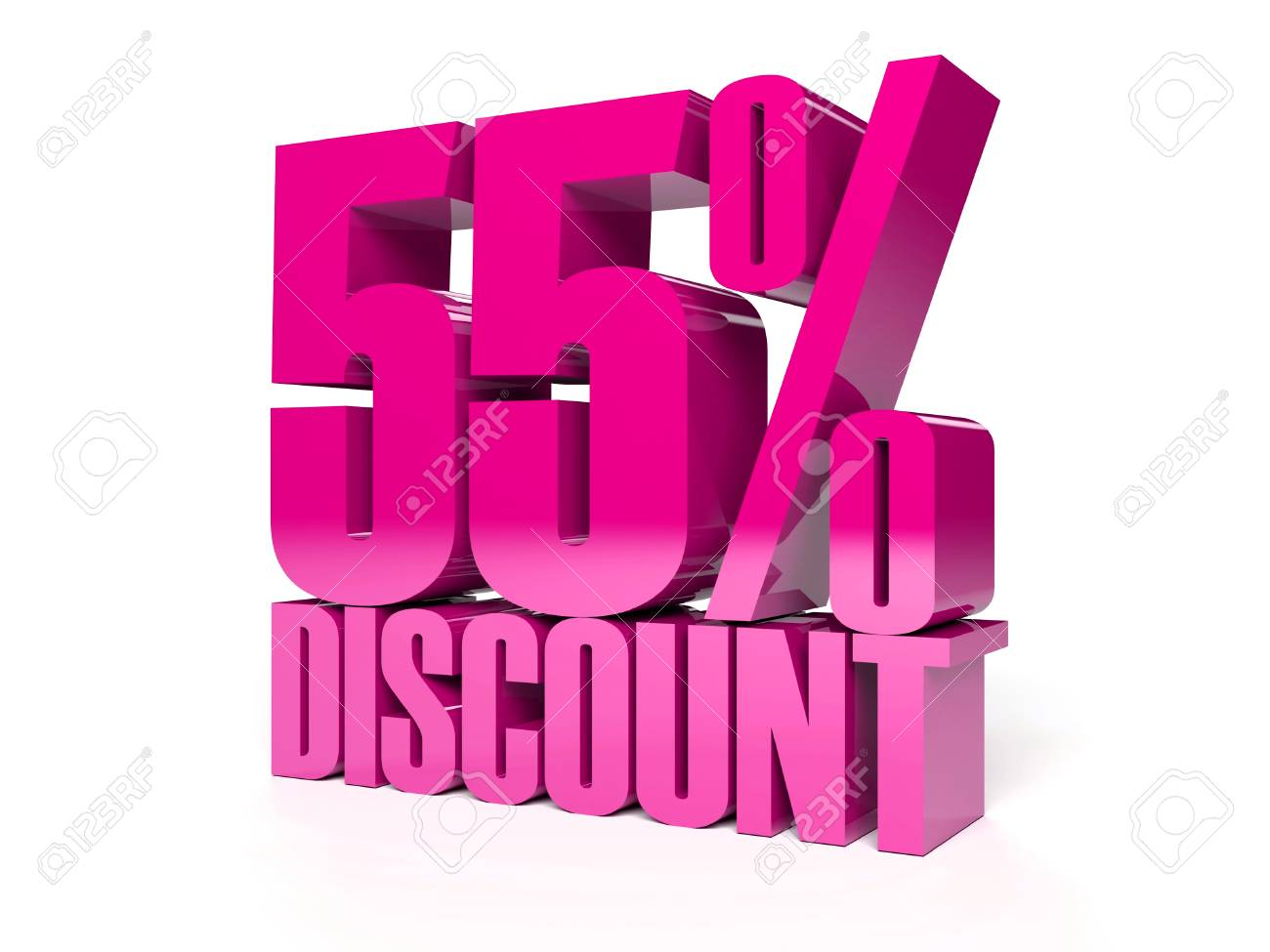 55 percent discount. Pink shiny text. Concept 3D illustration. Stock Photo - 22491882