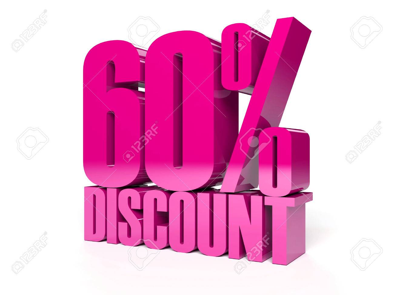60 percent discount. Pink shiny text. Concept 3D illustration. Stock Illustration - 22491884