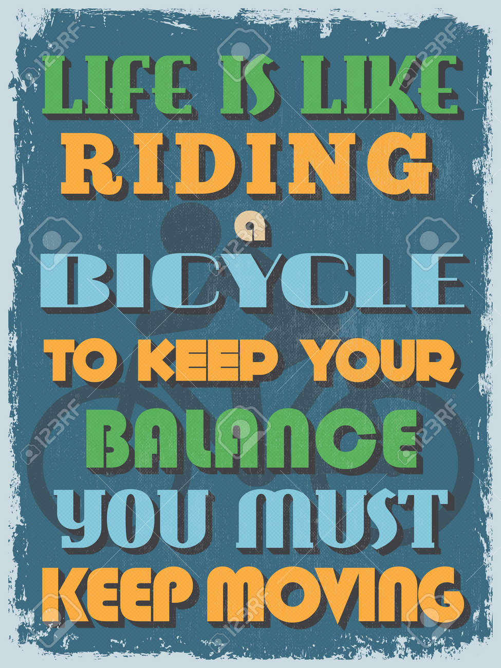 Life Quote Poster Retro Vintage Motivational Quote Posterlife Is Like Riding