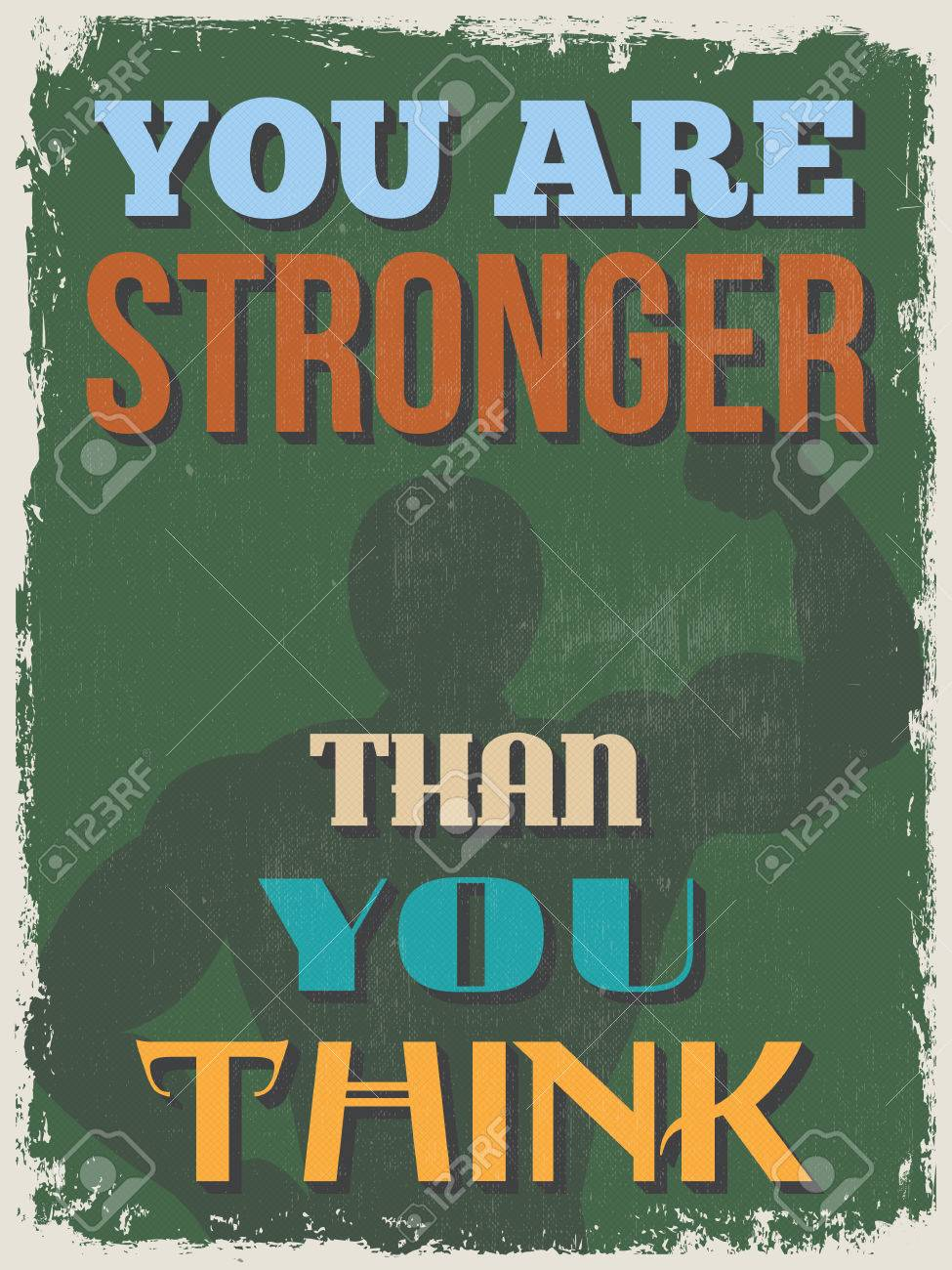Retro Vintage Motivational Quote Poster  You Are Stronger Than