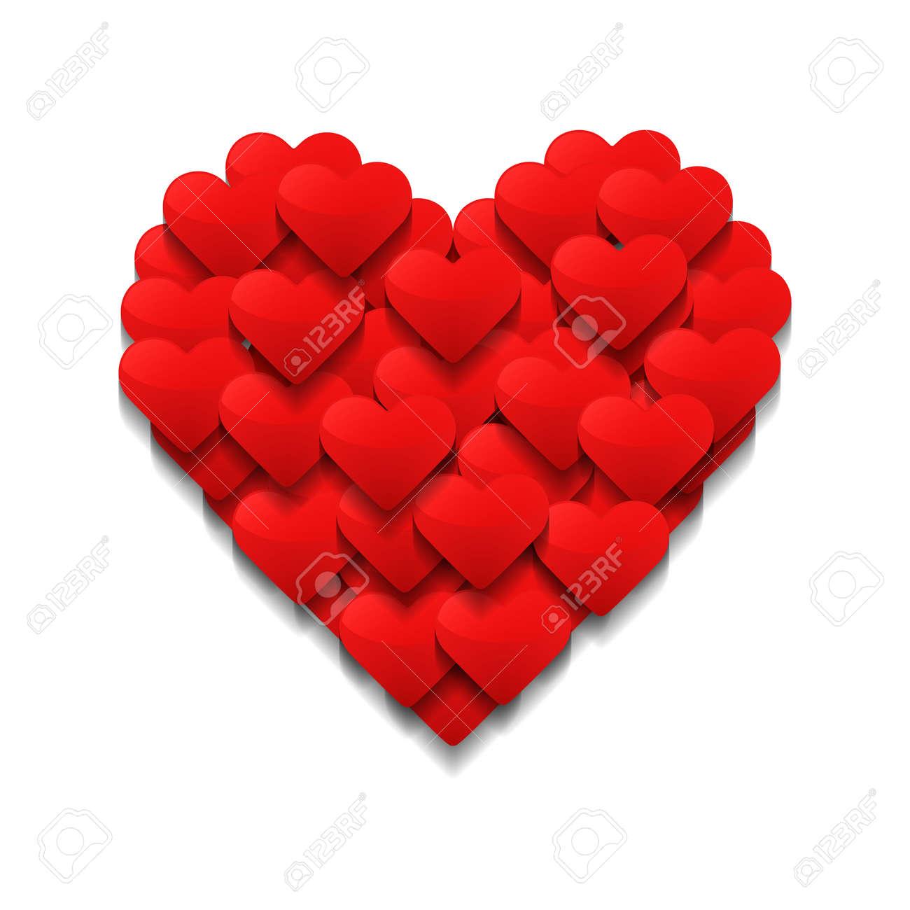 Kleine Herzen Bilden Ein Großes Herz. Valentinstag Konzept. Vektor ...
