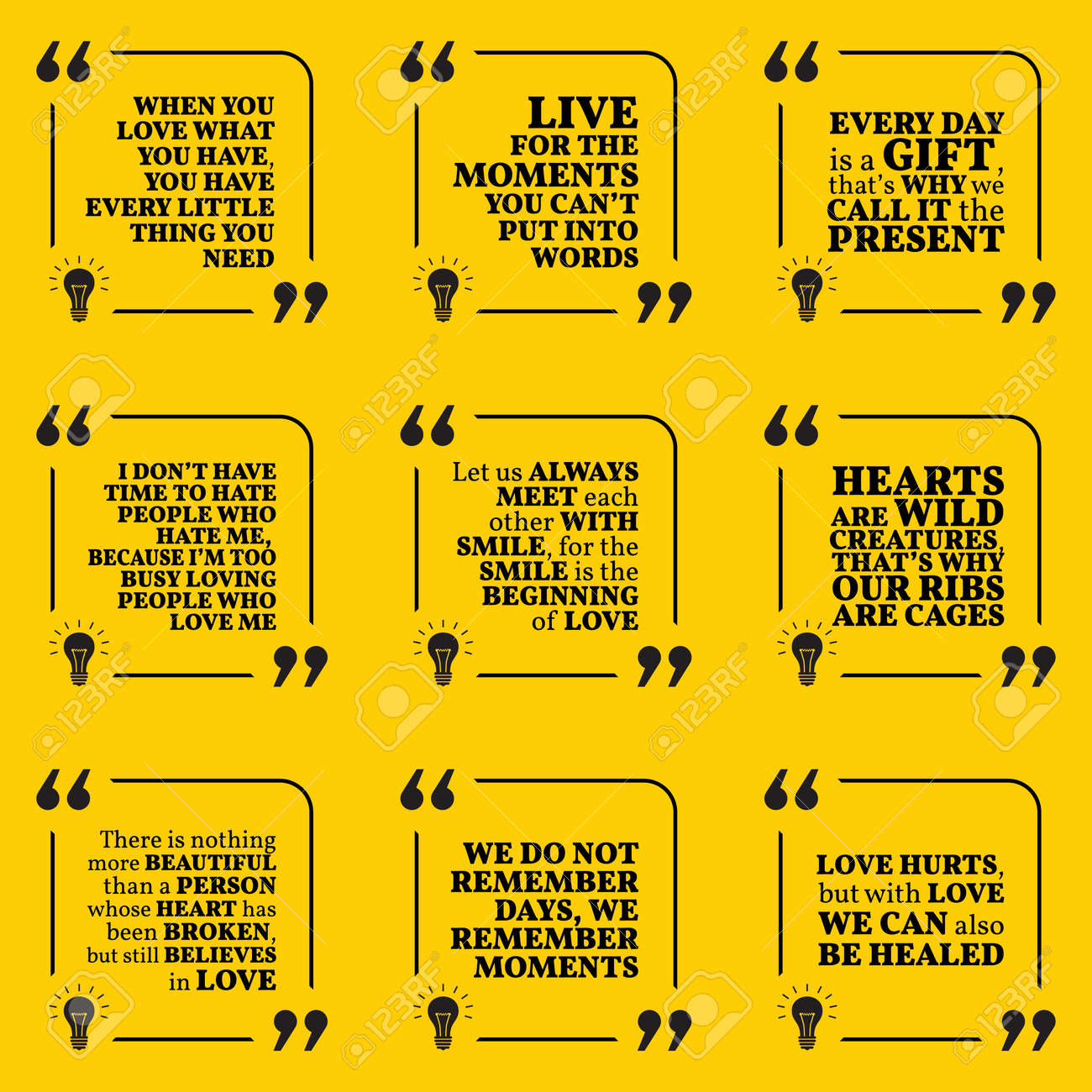 Set Of Motivational Quotes About Love Moments Present Smile