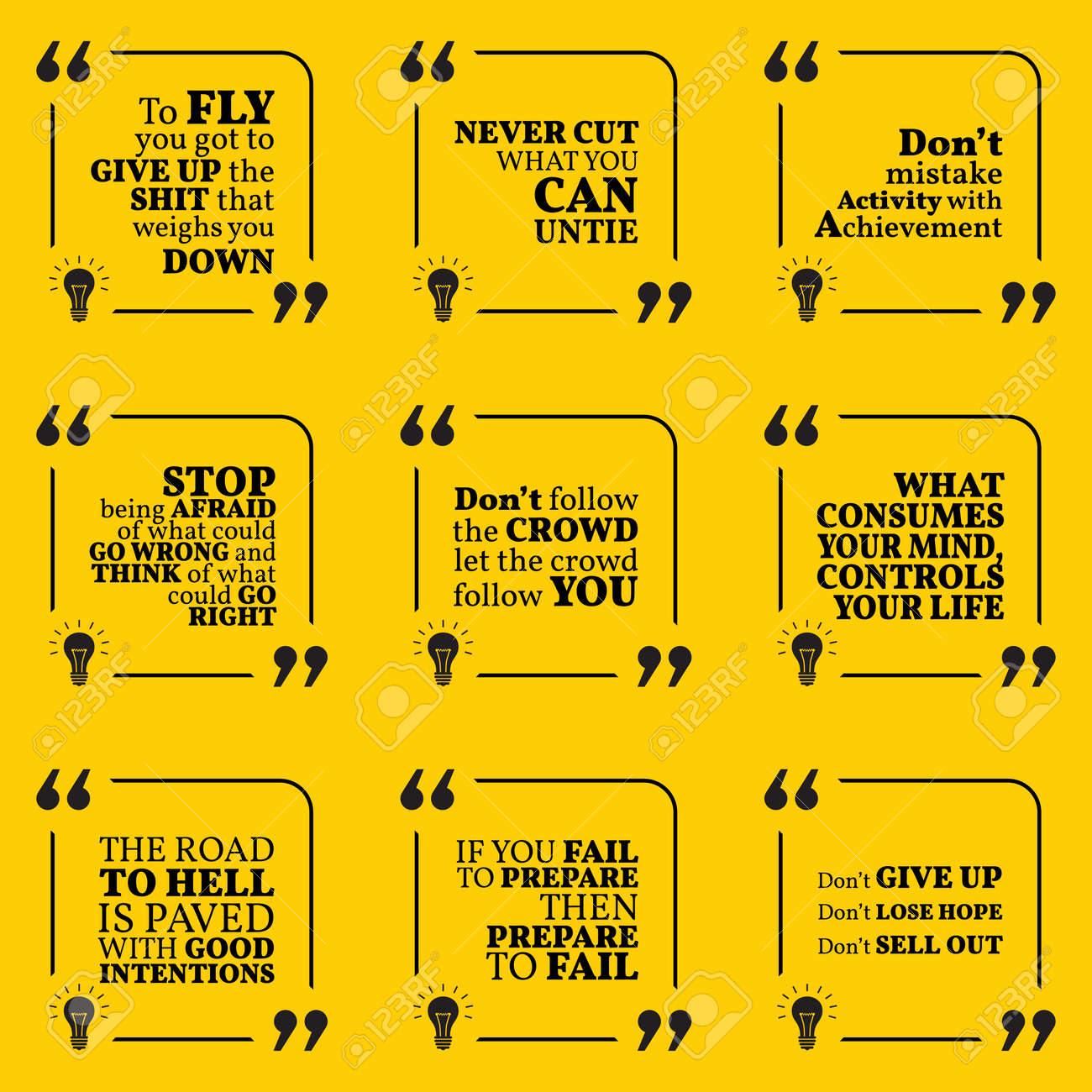 set of motivational warning quotes about responsibility activity rh 123rf com