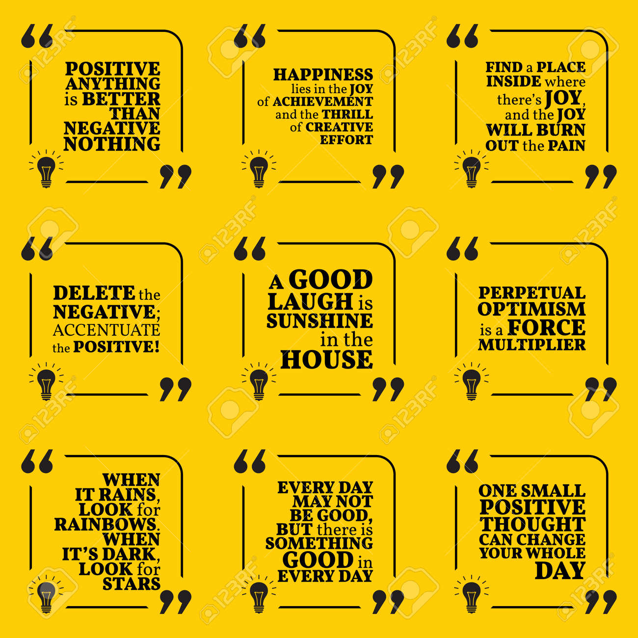 Set Of Motivational Quotes About Positive Thinking Optimism