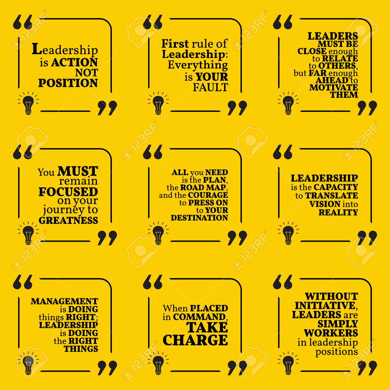 Set Of Motivational Quotes About Leadership Action Courage