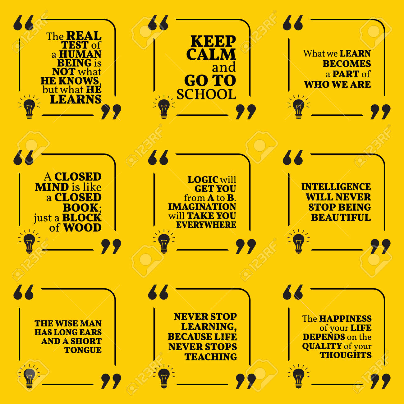 set of motivational quotes about learning school imagination