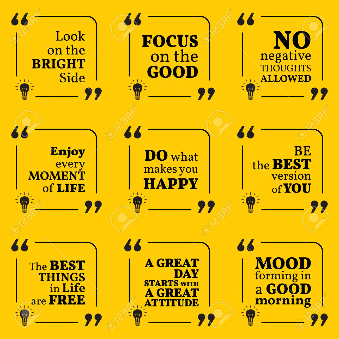 Set of motivational quotes about positive thinking, optimism,..