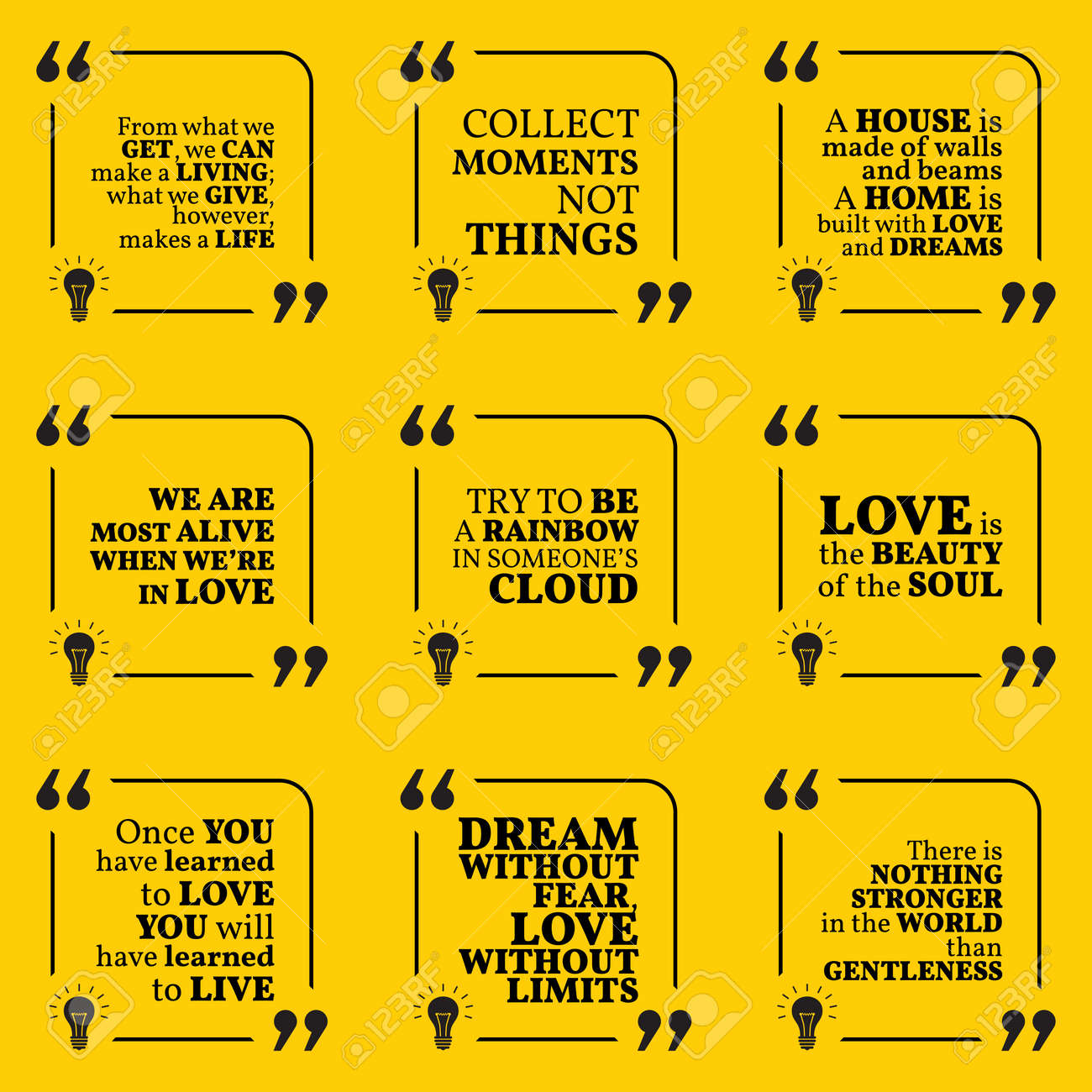 Set Of Motivational Quotes About Home Moments Love Life Dreams