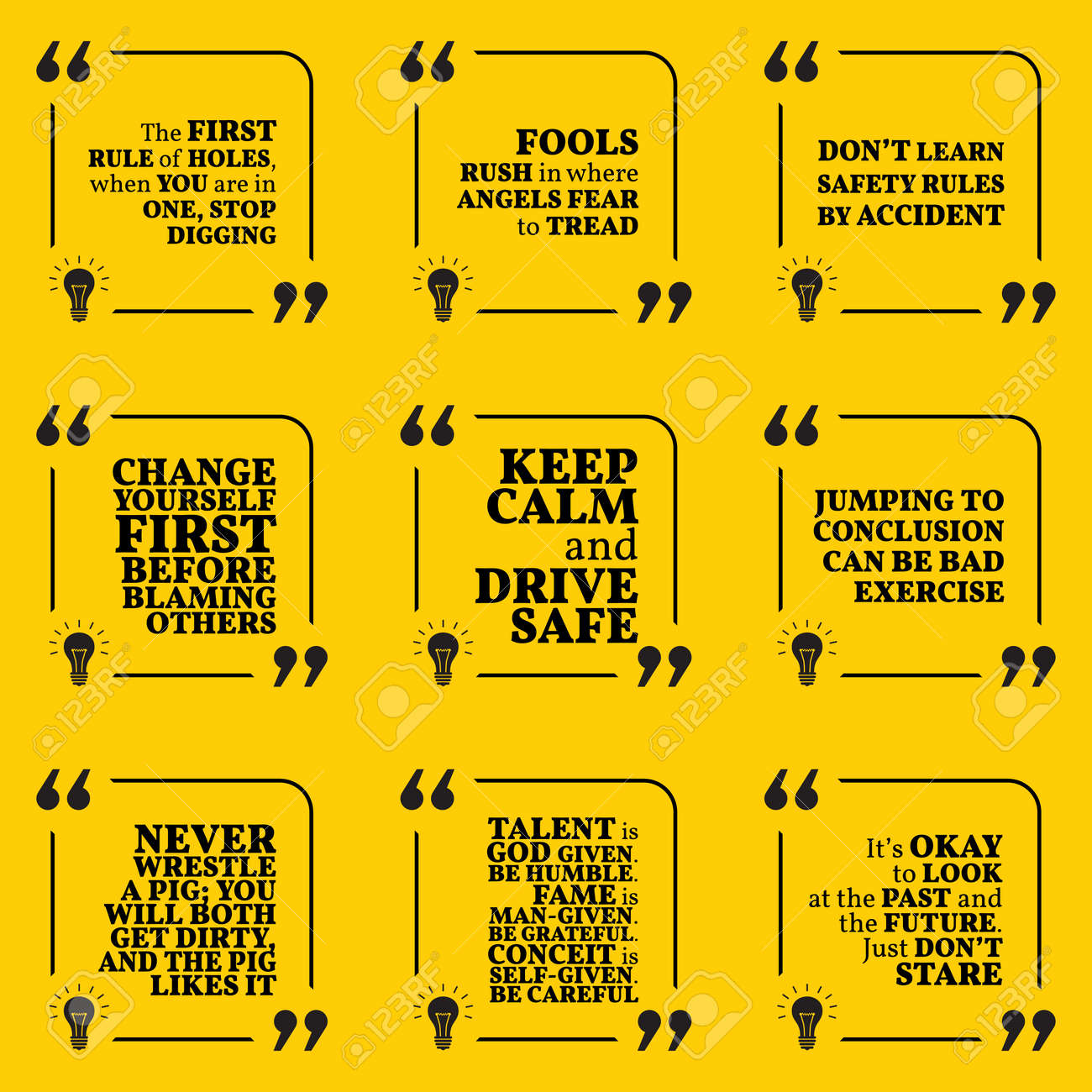 Set Of Motivational Warning Quotes About Responsibility, Fools