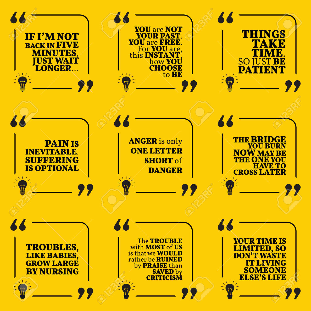 set of motivational quotes about past waiting pain anger rh 123rf com