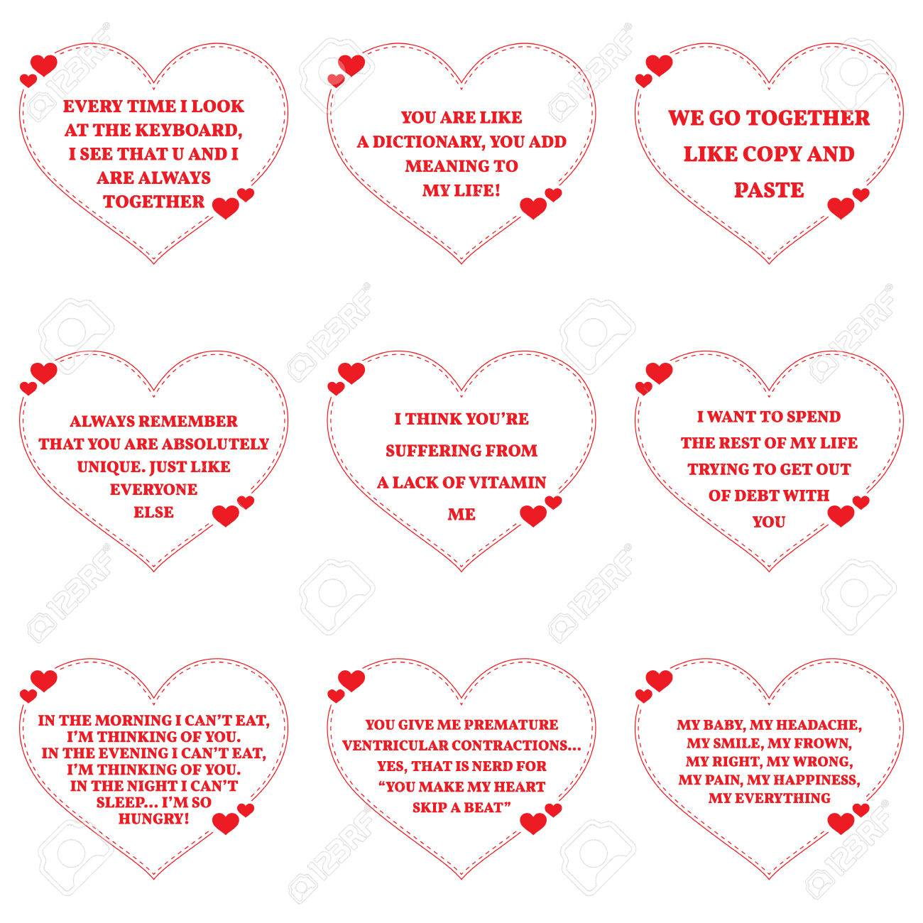 Set Of Funny Love Wishes Quotes Over White Background. Simple Heart Shape  Design. Vector