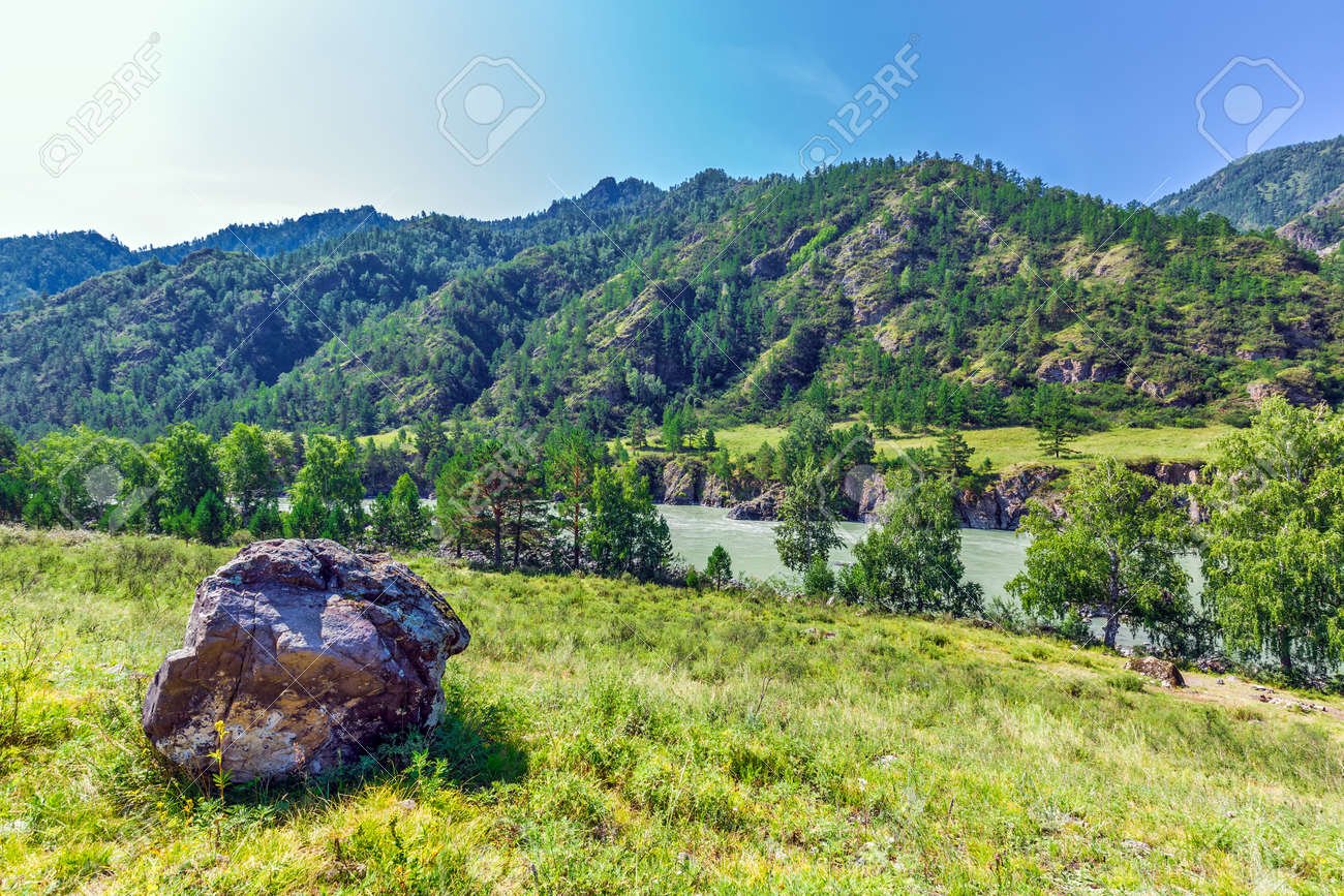 View of Katun river and mountain valley in summer. Chemalsky district, Altai Republic, southern Siberia, Russia - 129773905