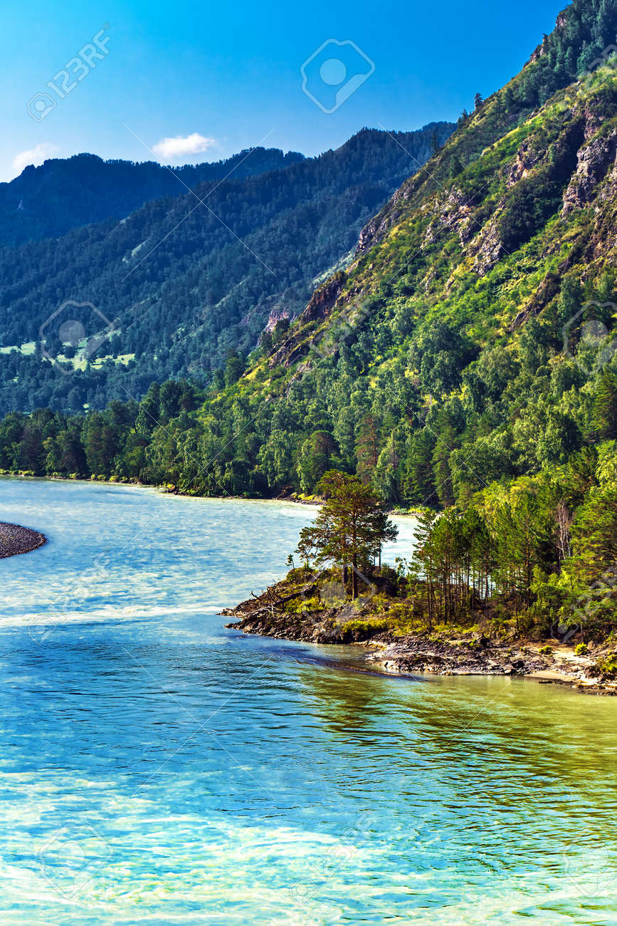 View of Katun river and mountain valley in summer. Chemalsky district, Altai Republic, southern Siberia, Russia - 129782162