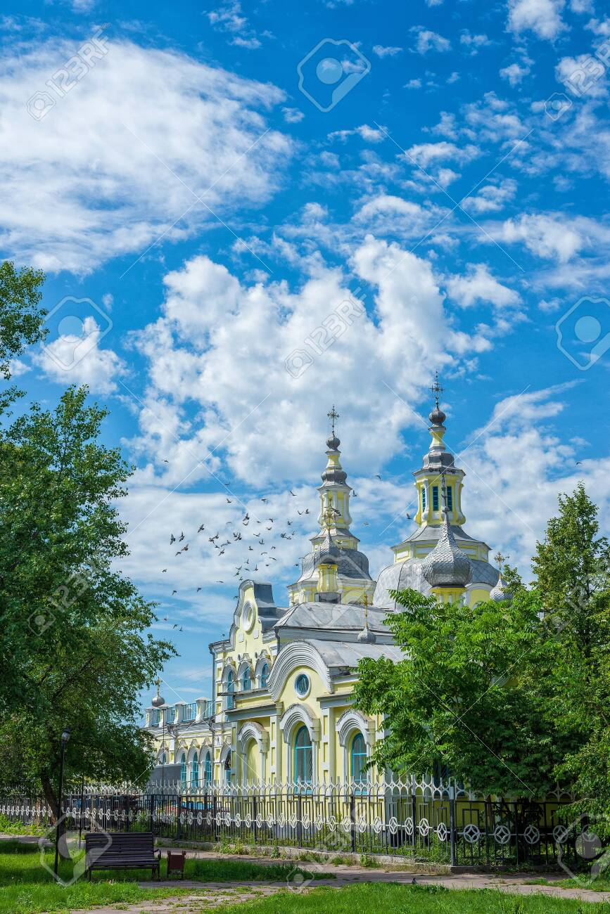 A beautiful old building of the Russian Orthodox Church against the blue sky. Summer landscape - 152762793