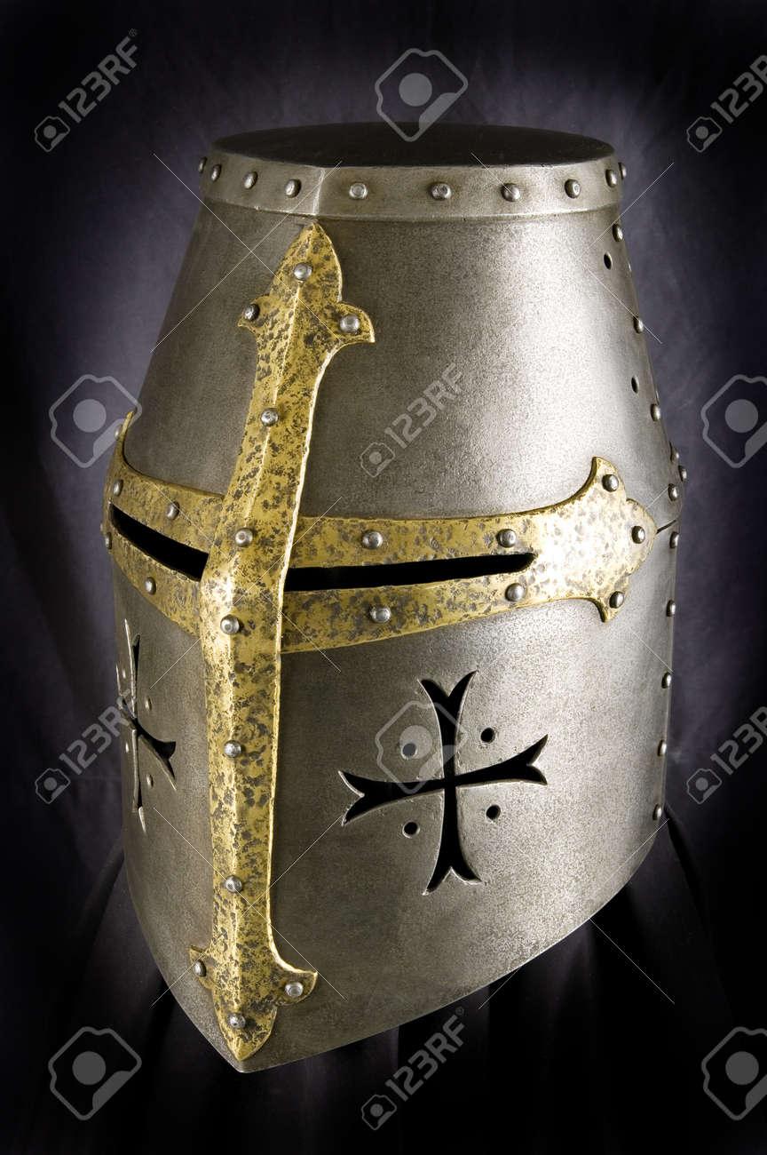 Iron helmet of the medieval knight. Very heavy headdress Stock Photo - 8341766