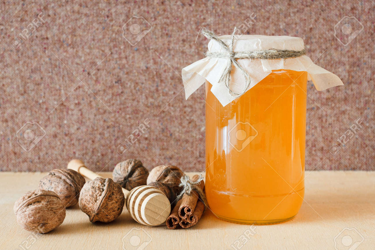 Nuts and honey photoset  Honey, walnut, cinnamon, sawed wood
