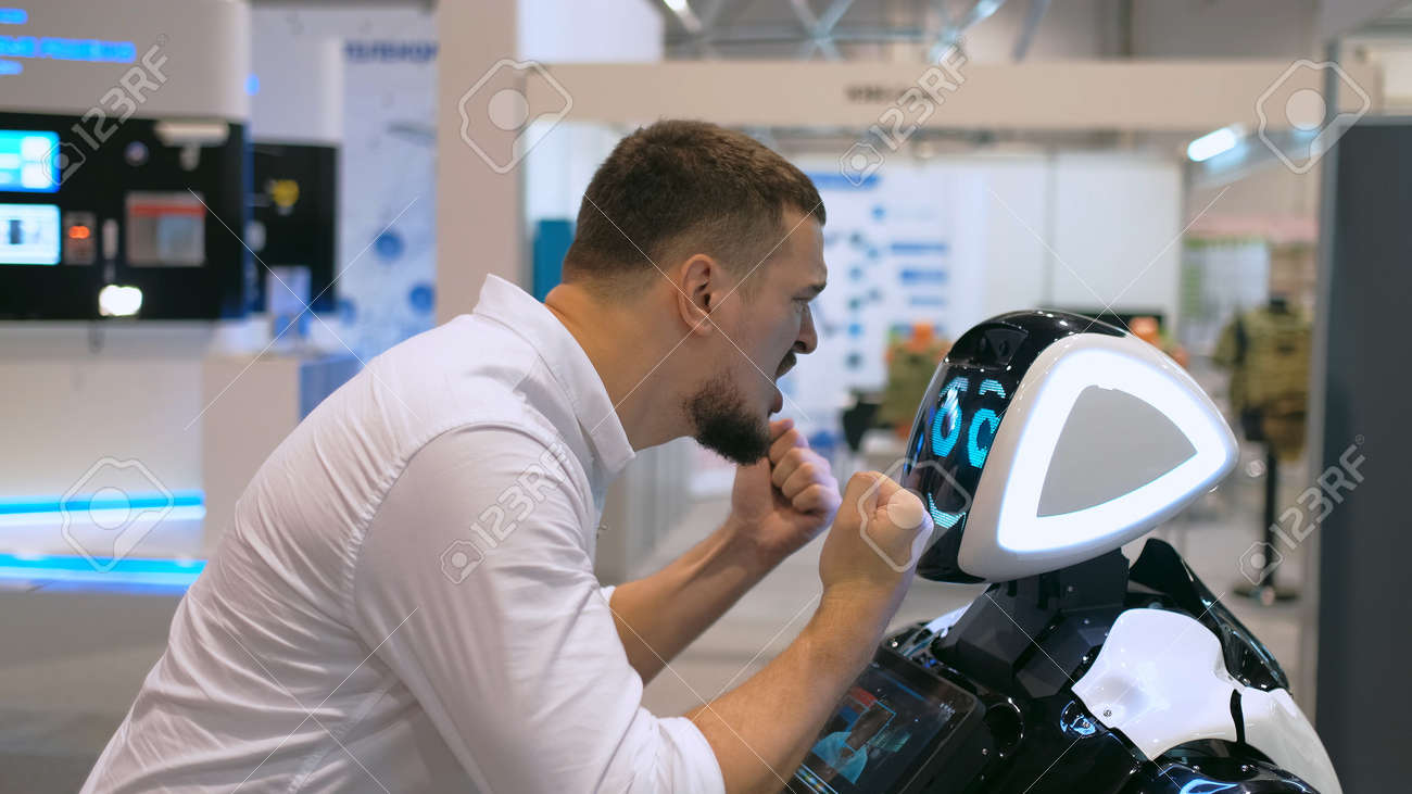 People angry scream robot emotional gesturing hand 4K. Man conflicts with technology future in furious speaking. Person expression screaming robotic machine and speak cyborg. Human-robot conflict. - 160842077