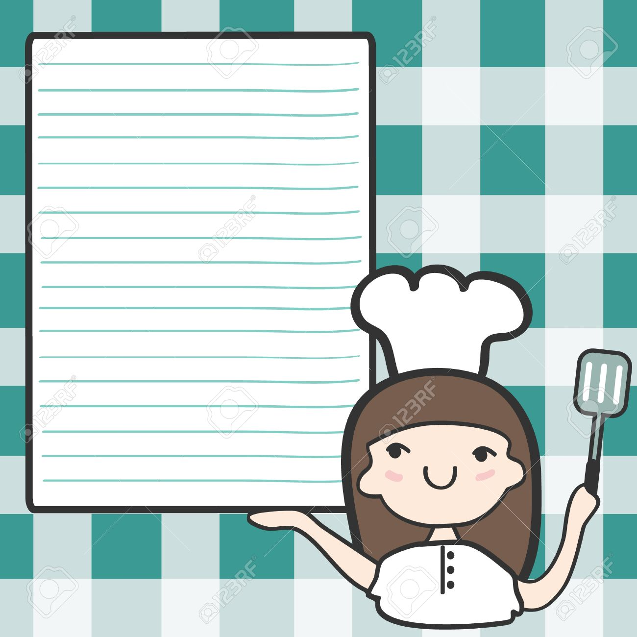 Cute girl chef with an empty space, Cartoon illustration Stock Vector - 18703153