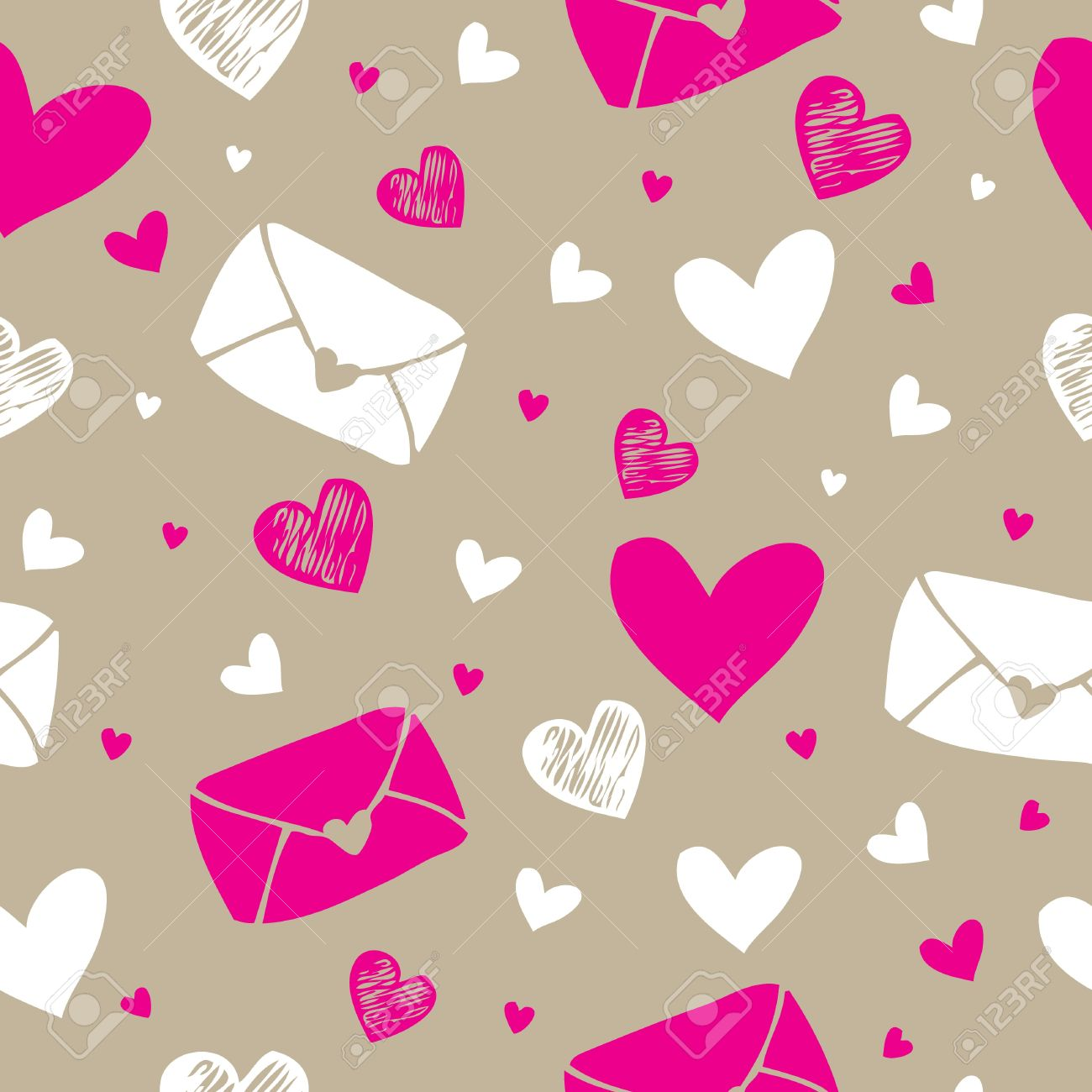 Carta De Amor Y Corazones De Fondo Sin Patron Ilustraciones