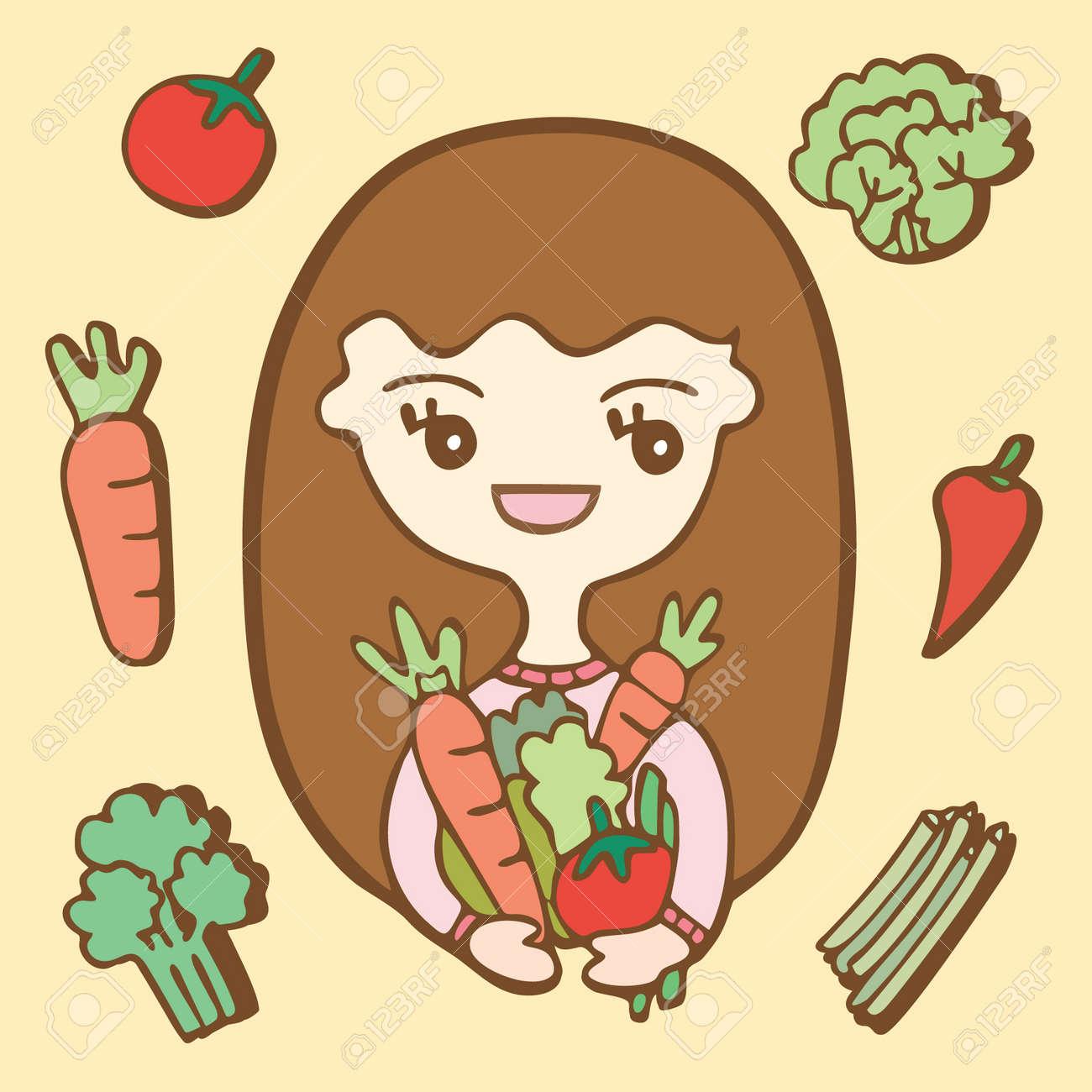 漫画かわいい女の子と野菜、ベクトル イラスト ロイヤリティフリー
