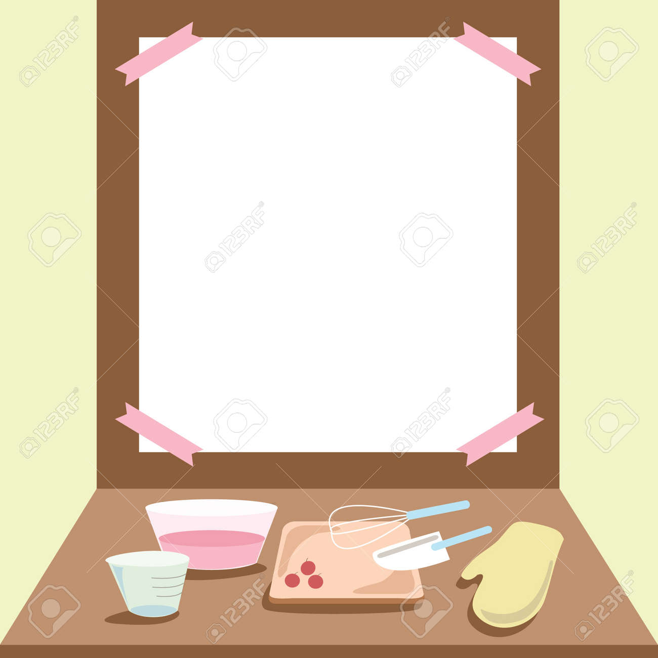 Set Of Kitchen Cooking Tools On Wood Table With Empty Space Background Vector Illustration Stock
