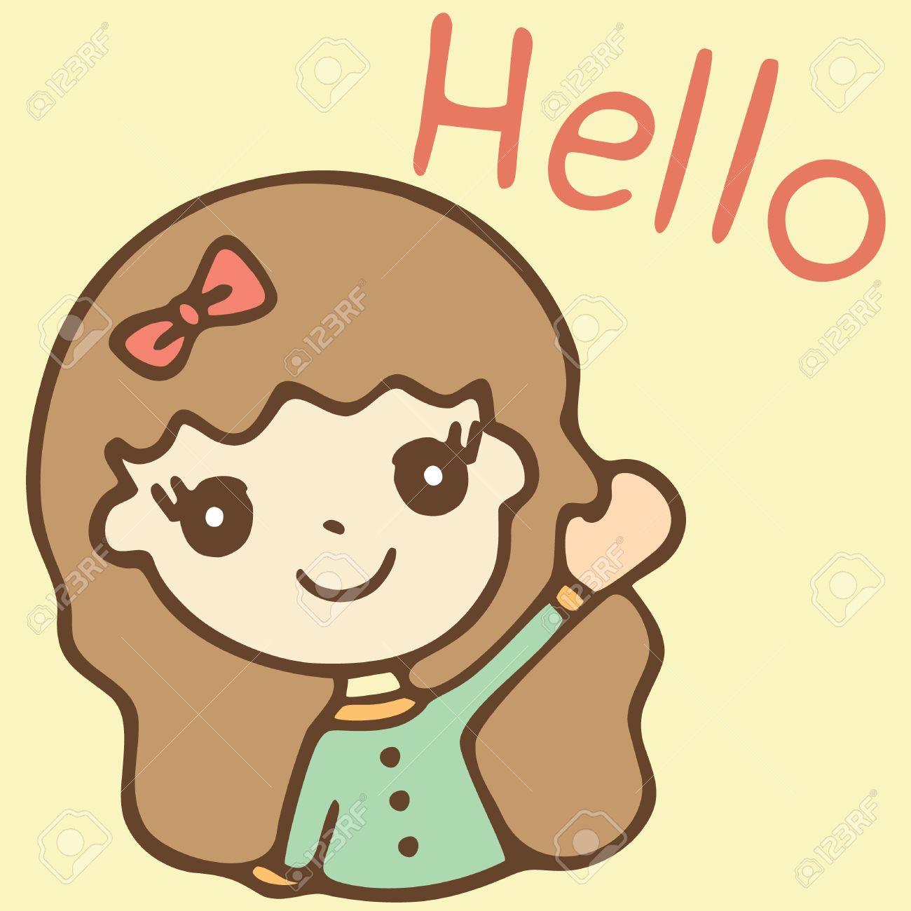 cartoon cute girl saying hello vector illustration royalty free