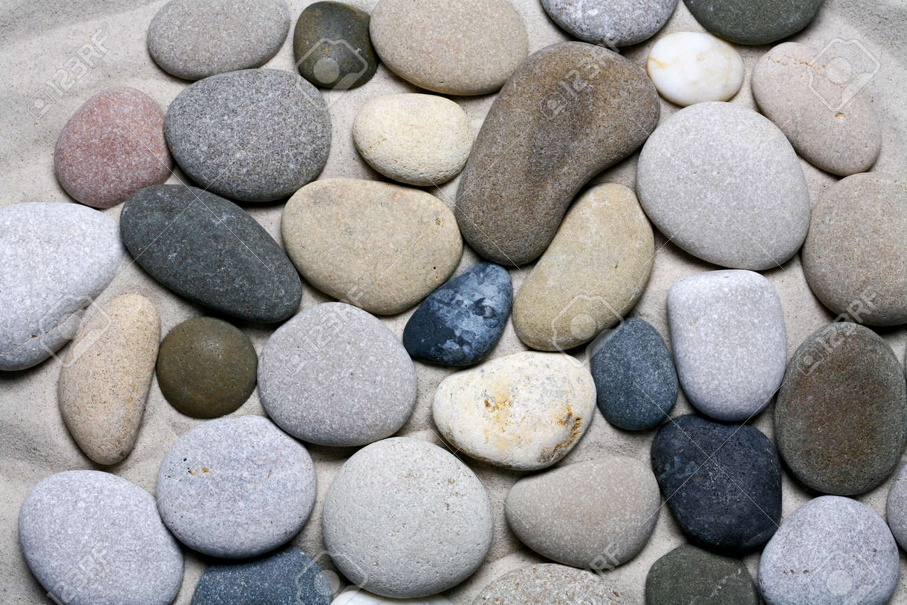 Sea stones background, black and white pebble texture. - 159711683